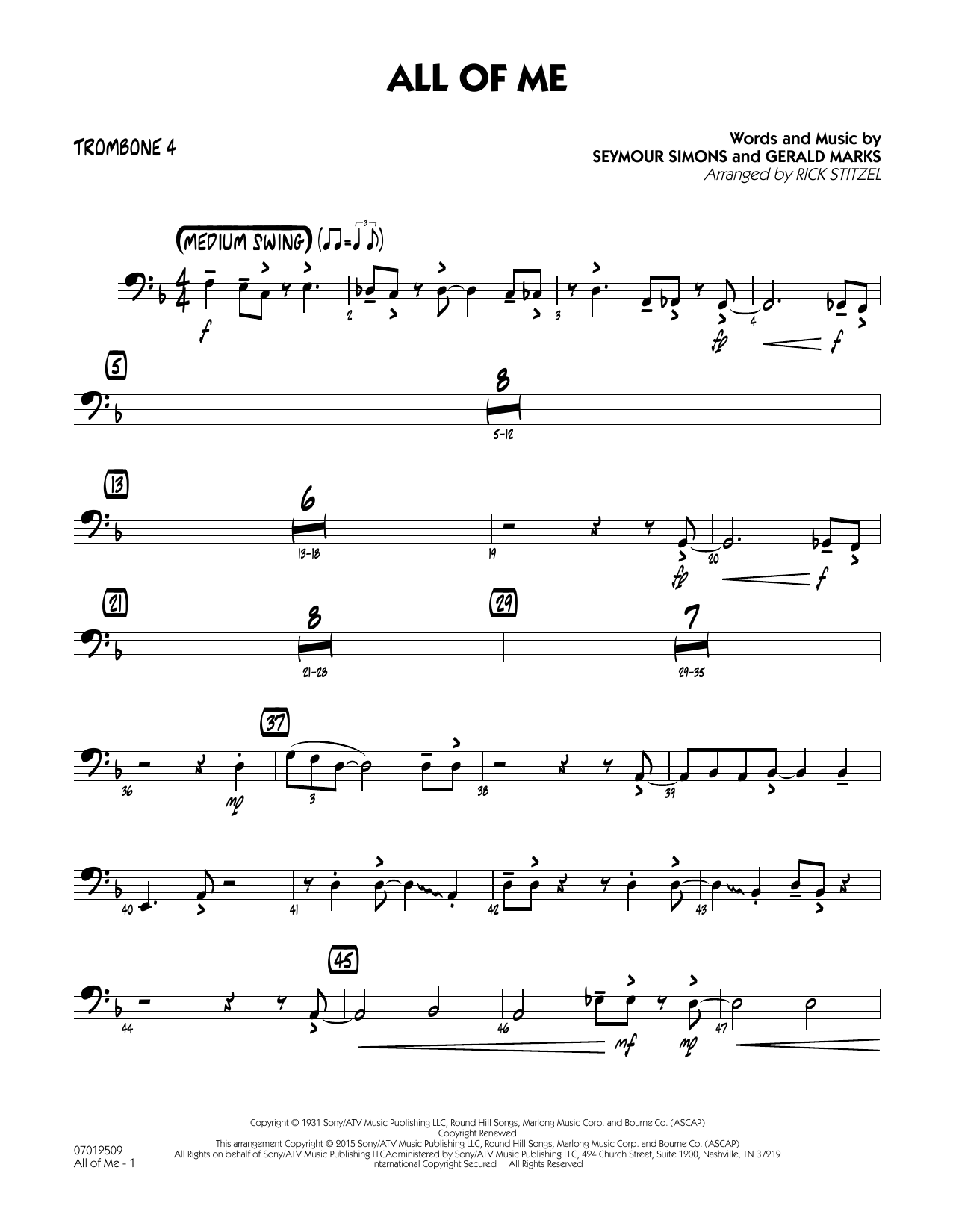 All of Me (Key: F) - Trombone 4 (Jazz Ensemble)