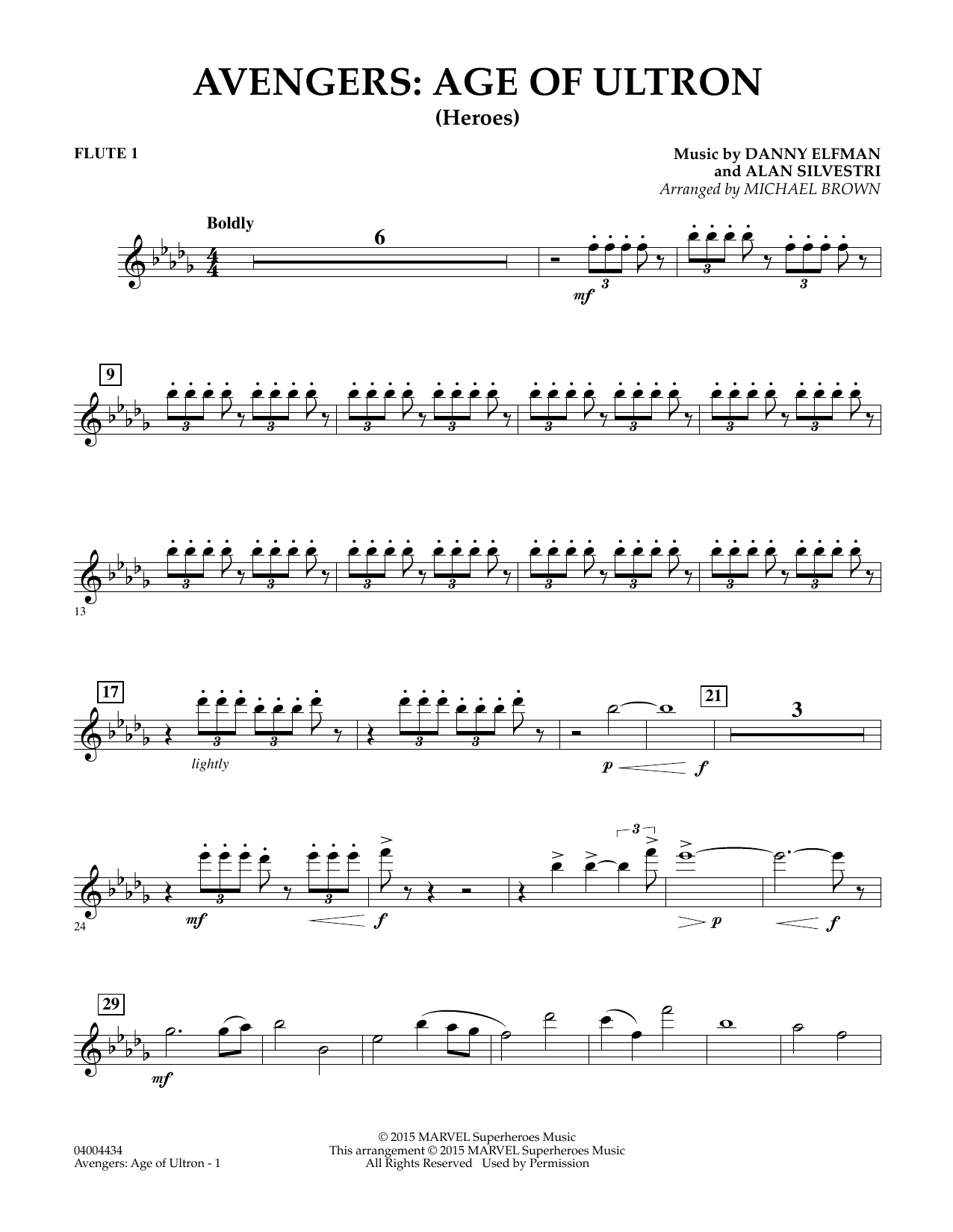 Avengers: The Age of Ultron (Main Theme) - Flute 1 by Michael Brown Concert  Band Digital Sheet Music