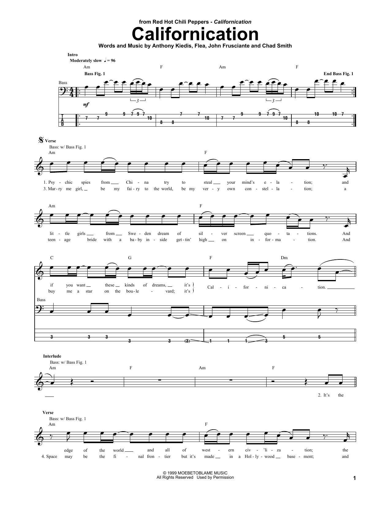 Californication Sheet Music