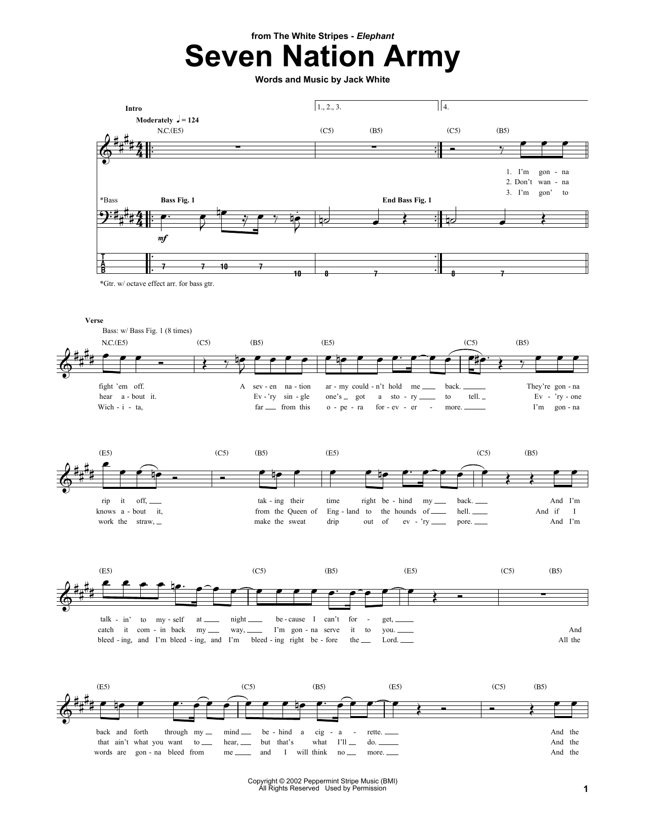 Seven Nation Army Bass Guitar Tab by The White Stripes (Bass Guitar Tab u2013 160295)