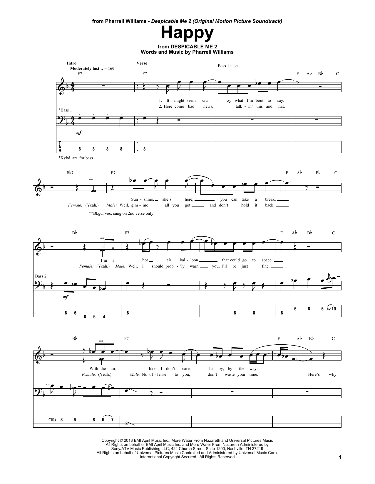 Tablature guitare Happy de Pharrell Williams - Tablature Basse