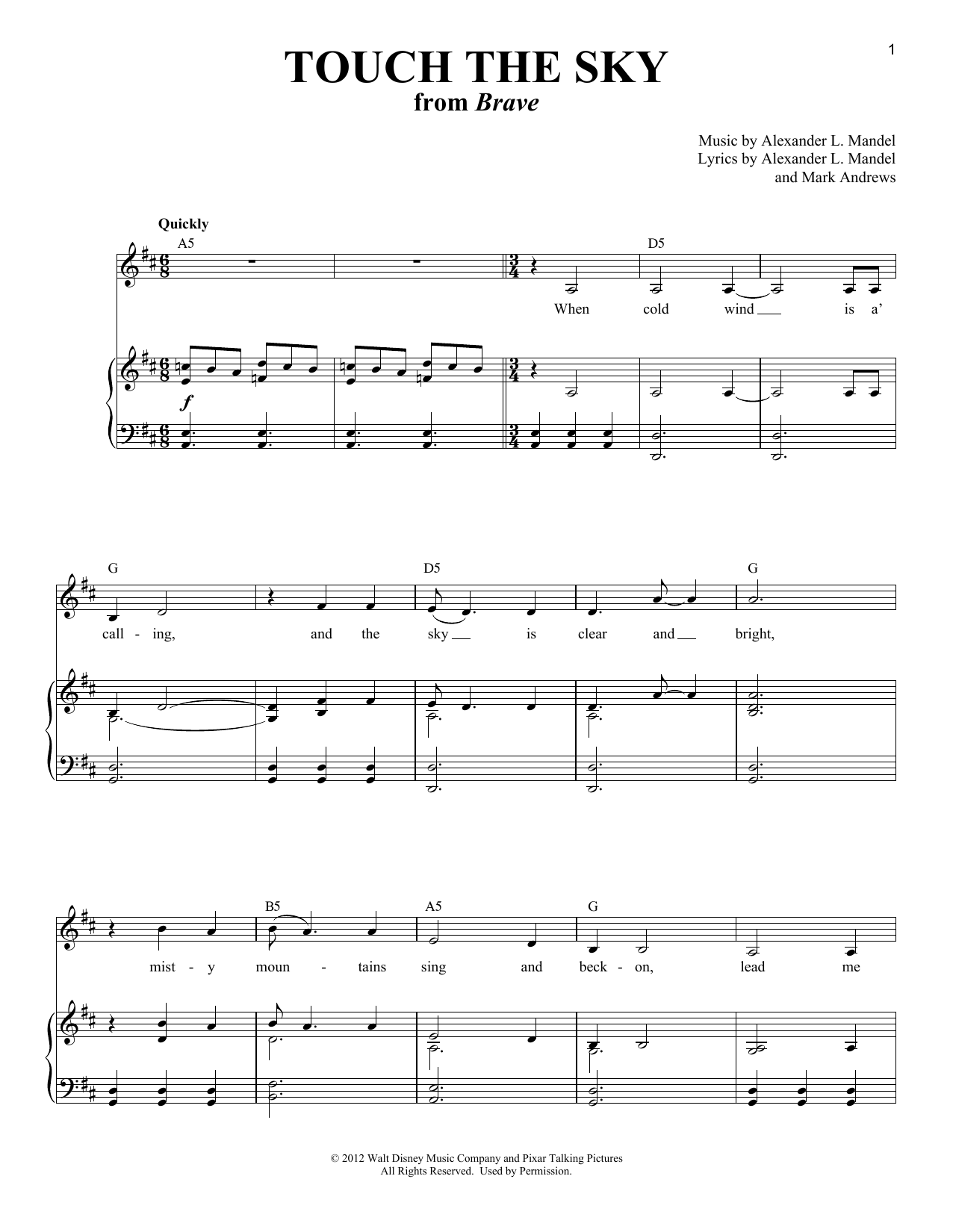 Touch The Sky (from Brave) Sheet Music