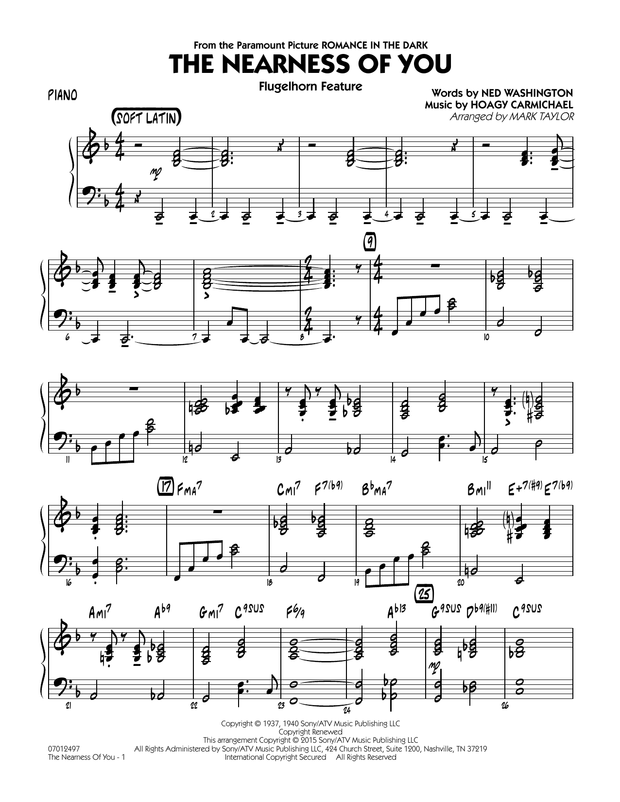 The Nearness of You (Flugelhorn Feature) - Piano (Jazz Ensemble)
