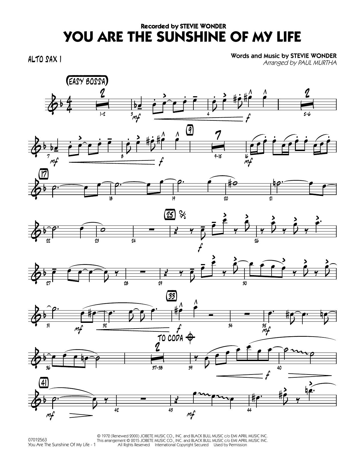 You Are the Sunshine of My Life - Alto Sax 1 (Jazz Ensemble)
