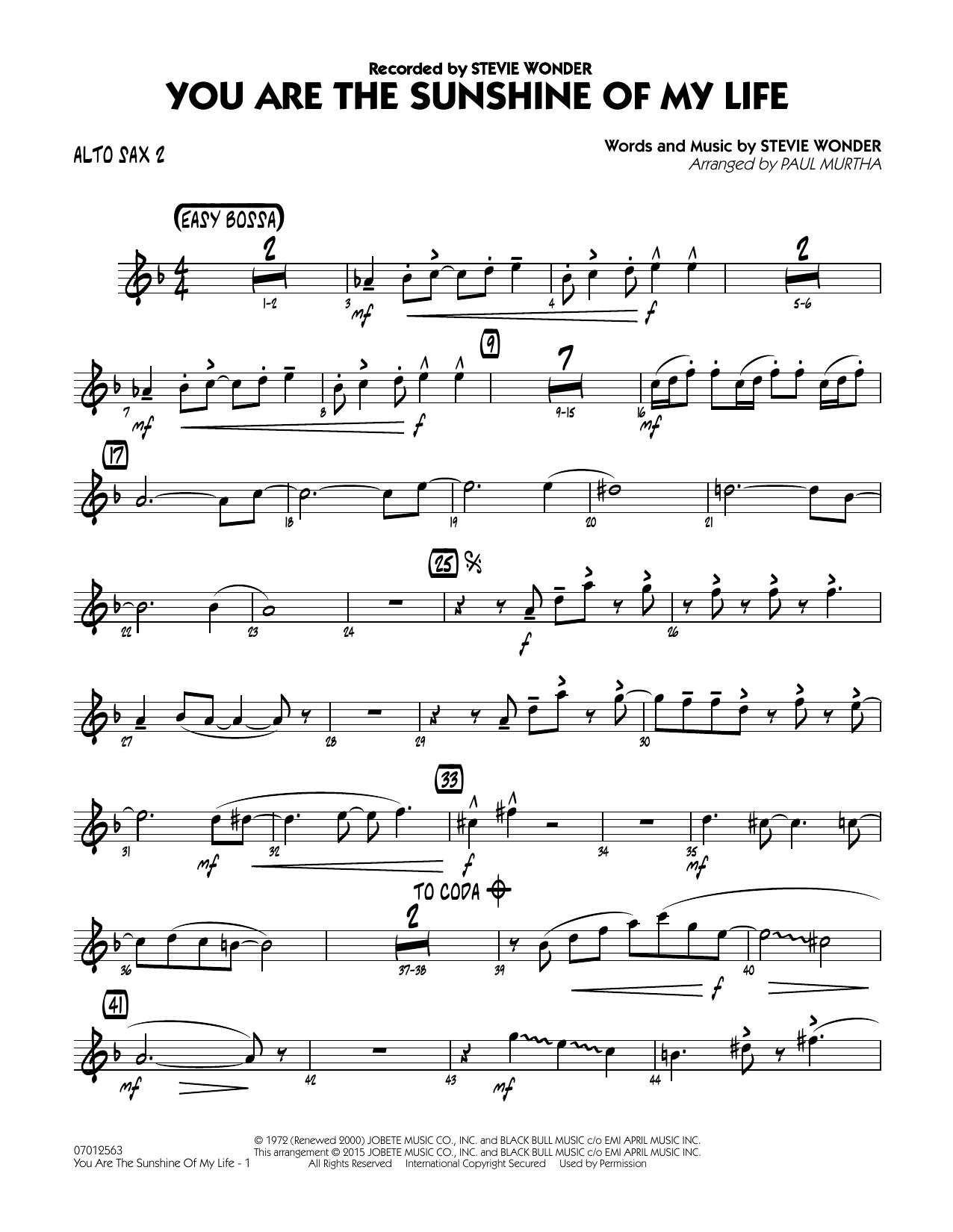 You Are the Sunshine of My Life - Alto Sax 2 (Jazz Ensemble)
