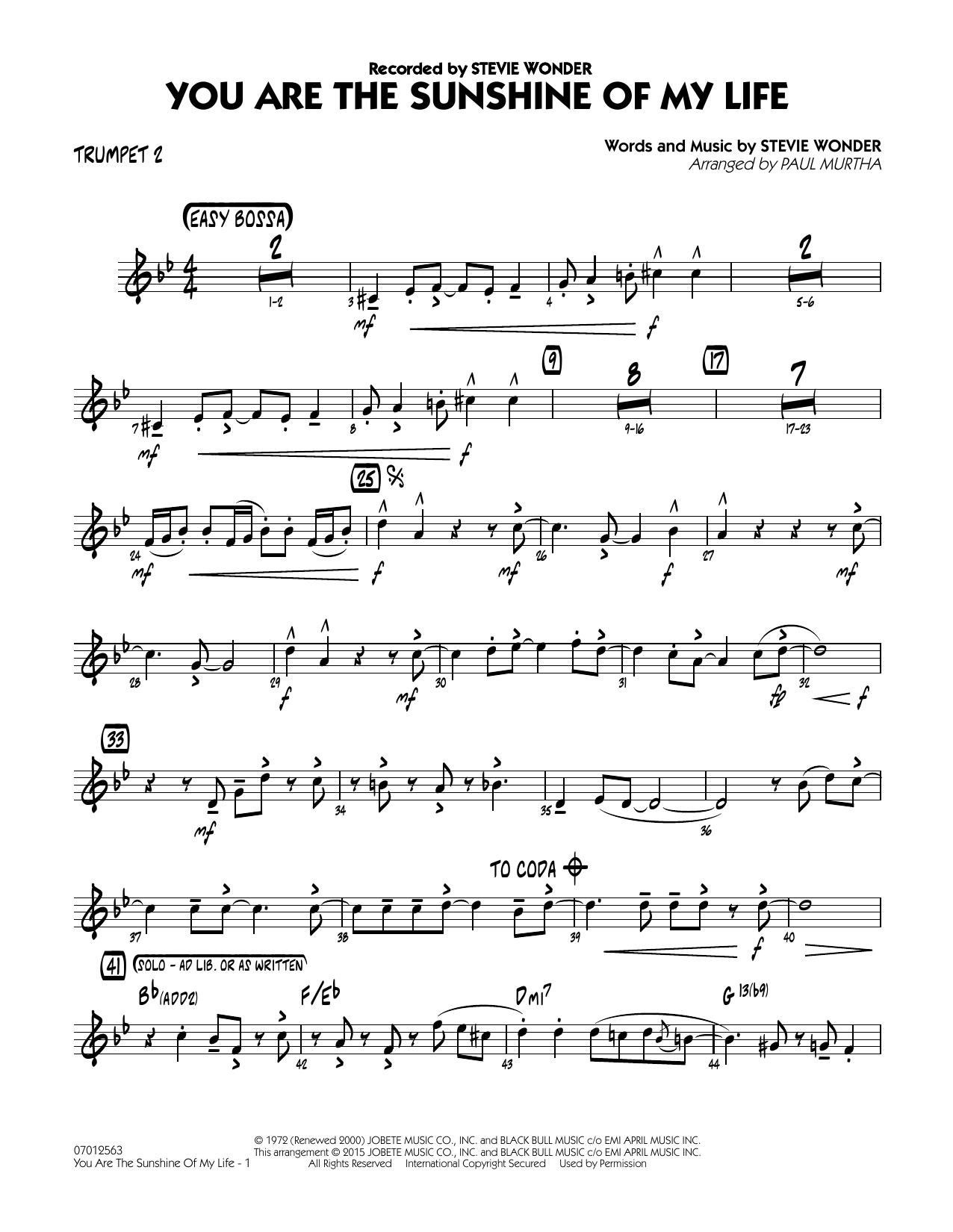 You Are the Sunshine of My Life - Trumpet 2 (Jazz Ensemble)