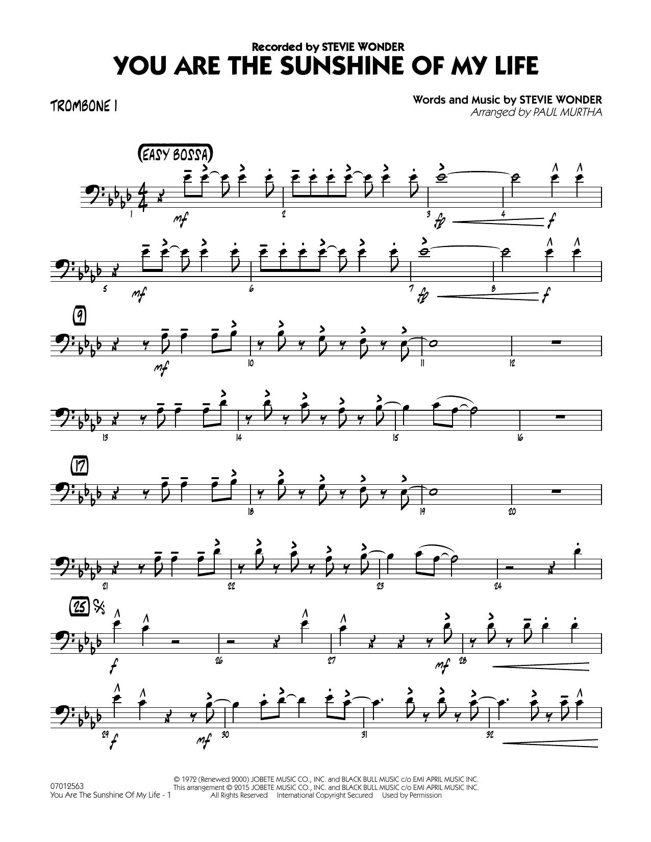 You Are the Sunshine of My Life - Trombone 1 (Jazz Ensemble)