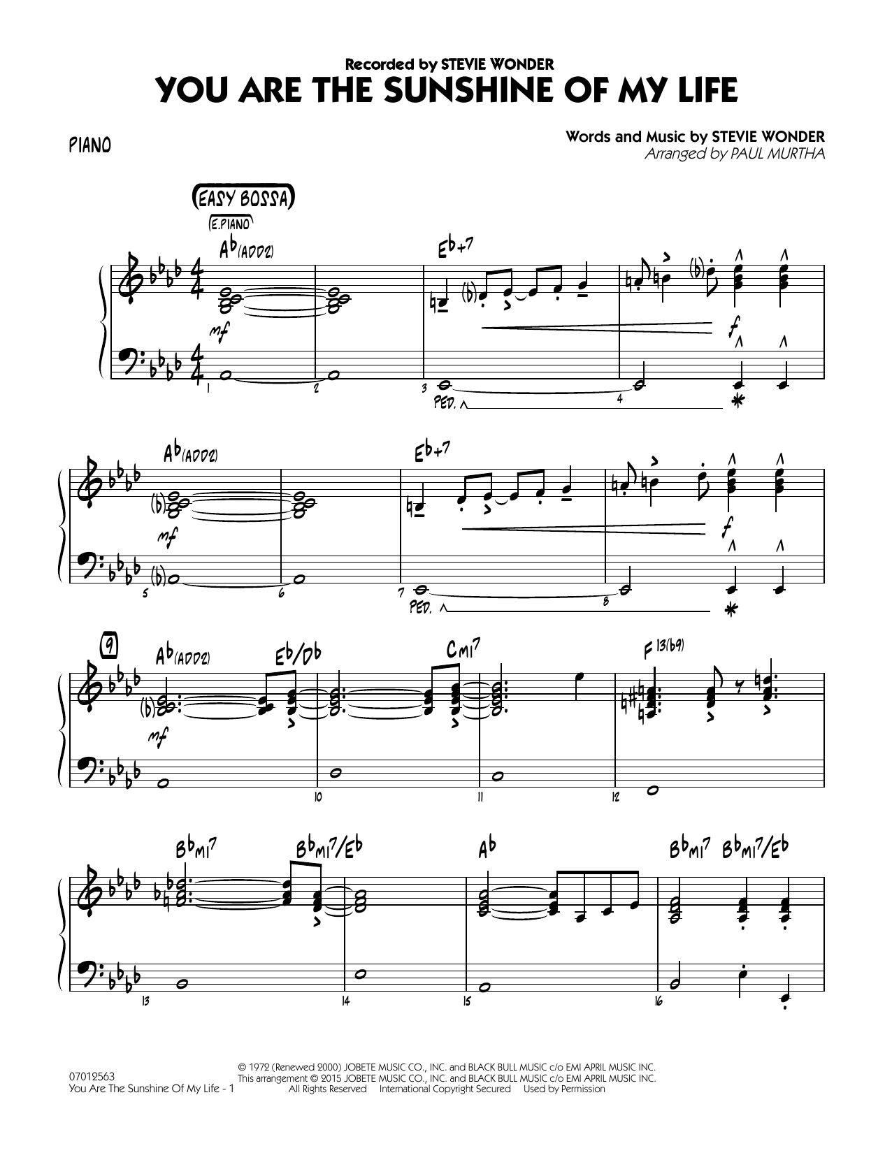 You Are the Sunshine of My Life - Piano (Jazz Ensemble)