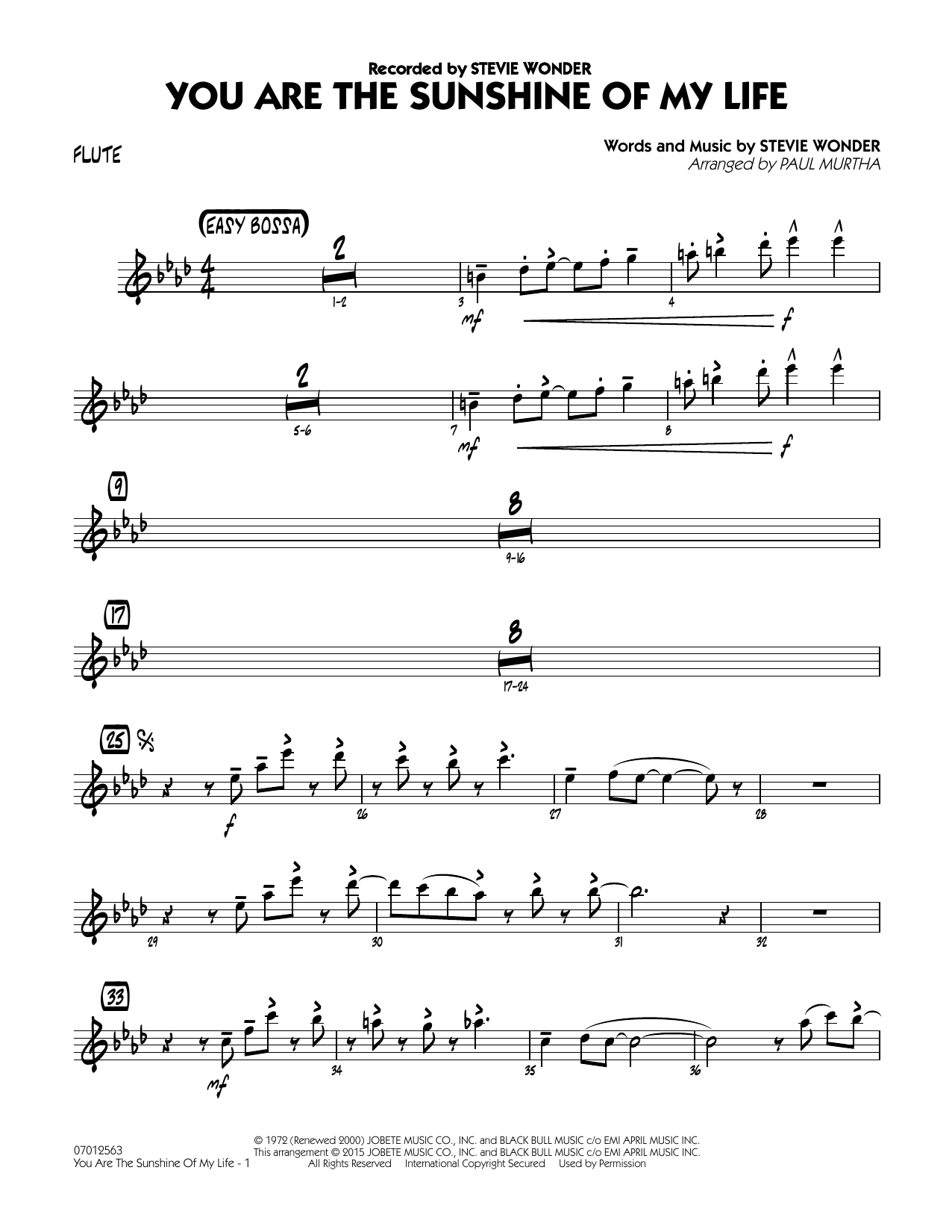 You Are the Sunshine of My Life - Flute (Jazz Ensemble)