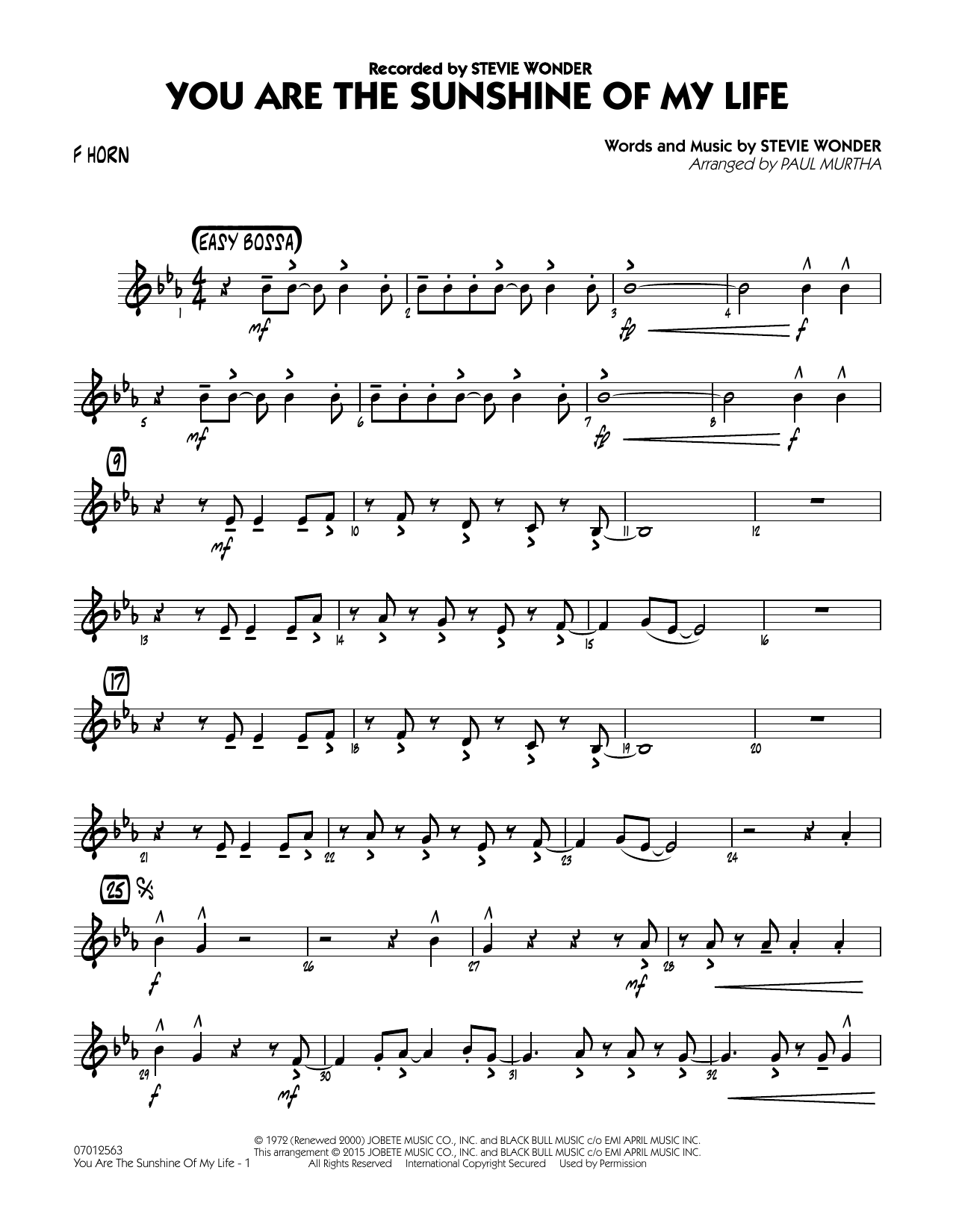 You Are the Sunshine of My Life - F Horn (Jazz Ensemble)
