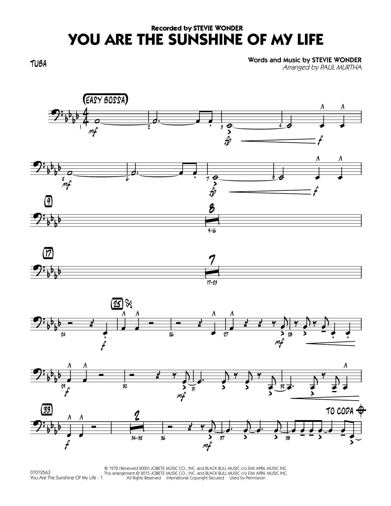 You Are the Sunshine of My Life - Tuba (Jazz Ensemble)