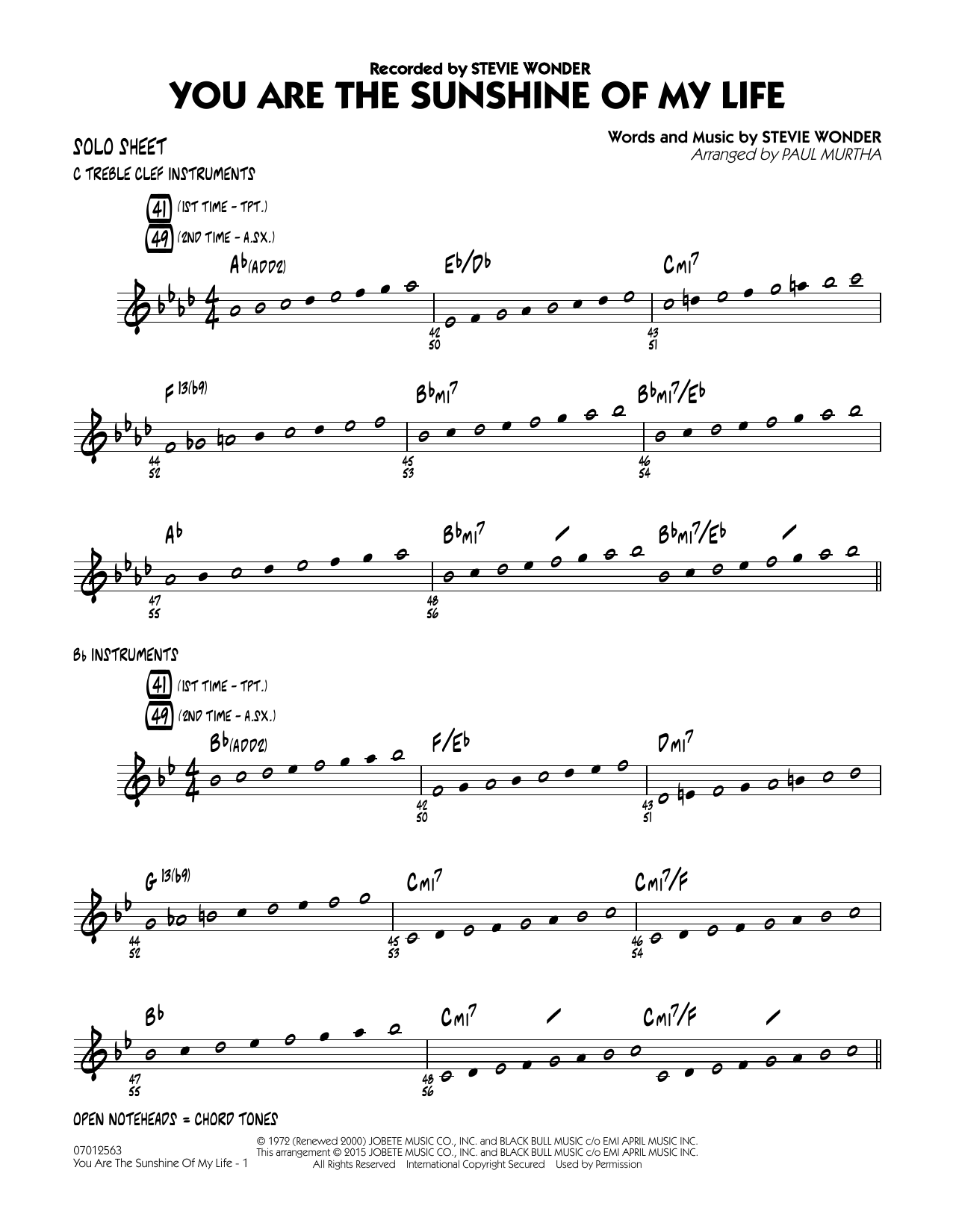 You Are the Sunshine of My Life - Solo Sheet (Jazz Ensemble)