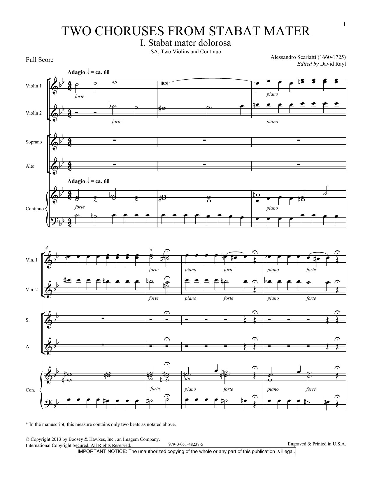 Two Choruses from Stabat Mater - Score Sheet Music