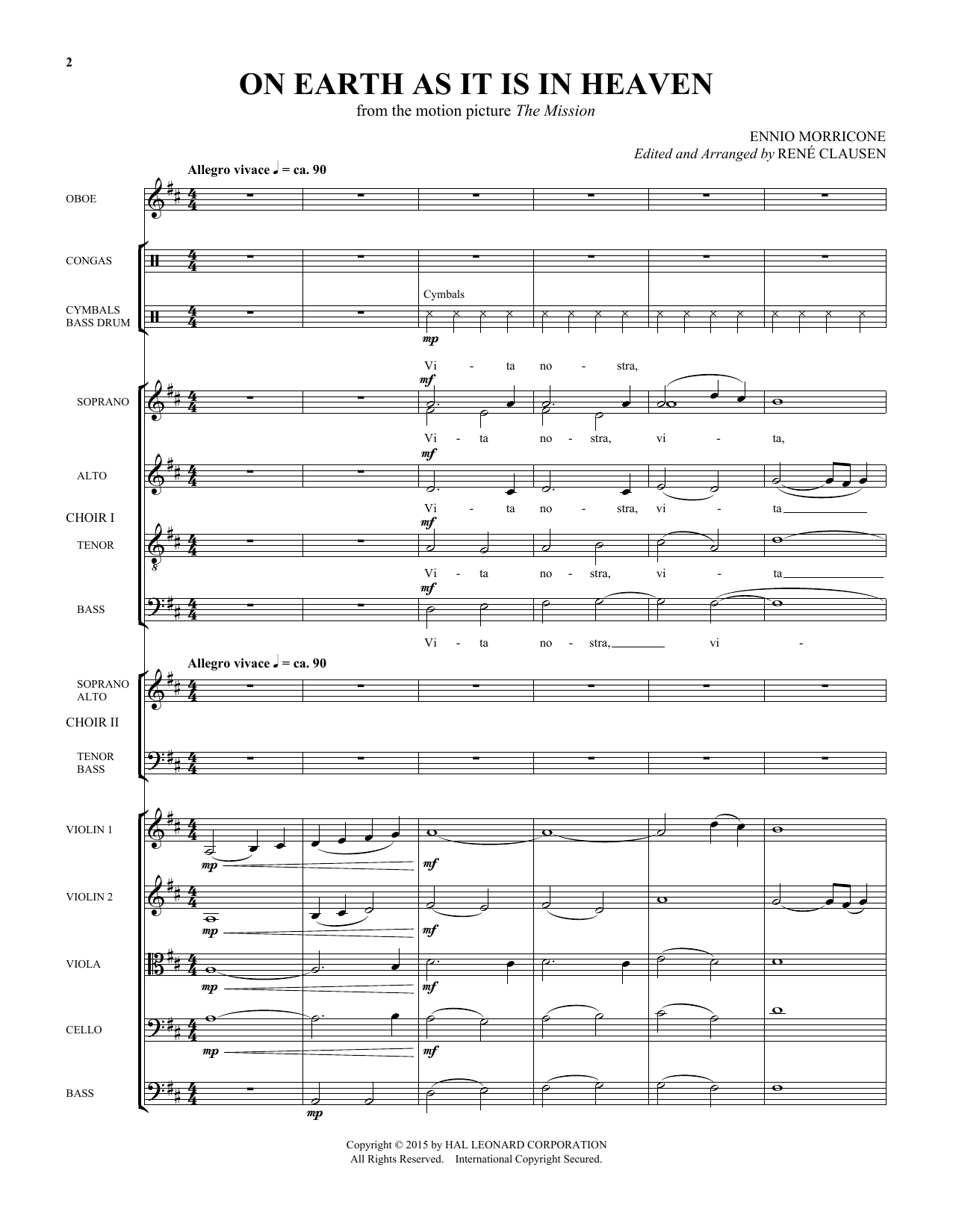 On Earth As It Is In Heaven (COMPLETE) sheet music for orchestra/band by Rene Clausen, RenA�A� Clausen and Ennio Morricone. Score Image Preview.