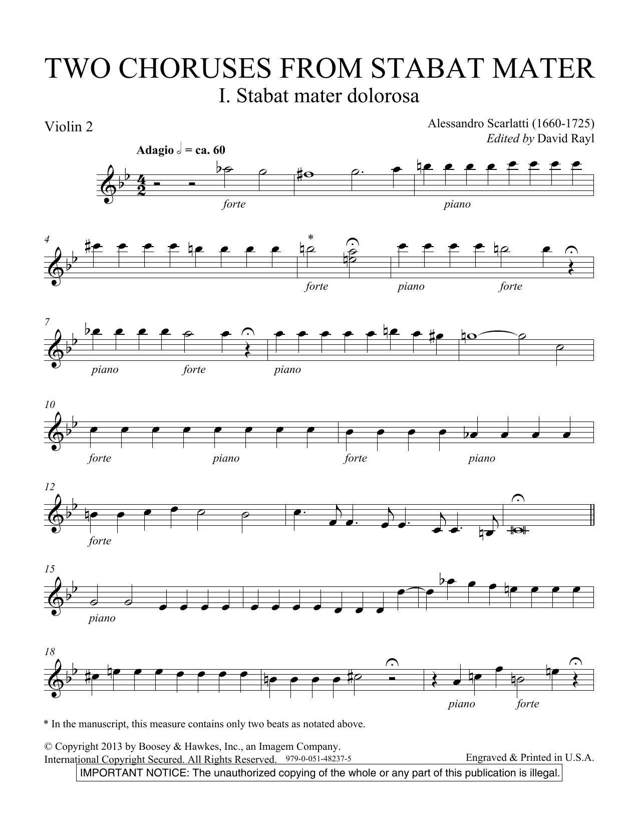 Two Choruses from Stabat Mater - Violin 2 Sheet Music
