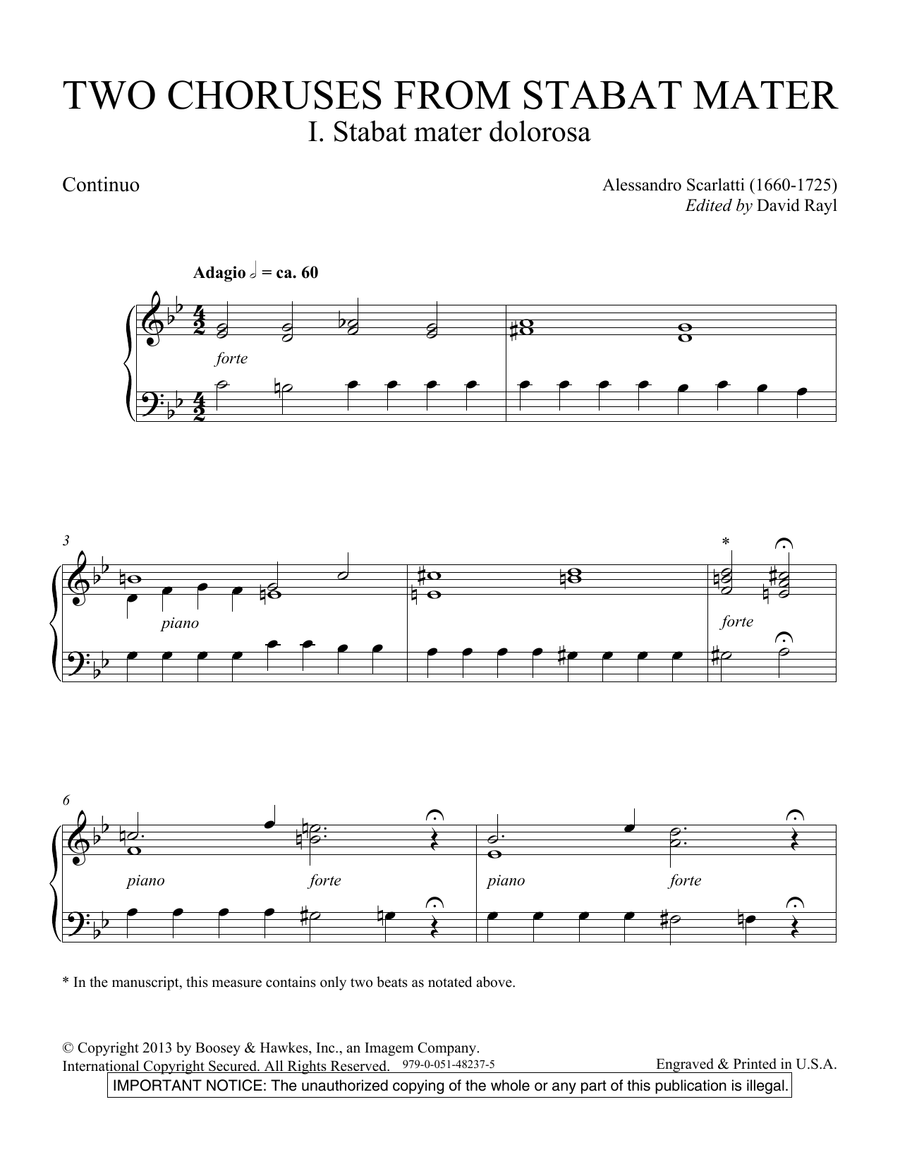 Two Choruses from Stabat Mater - Continuo Sheet Music