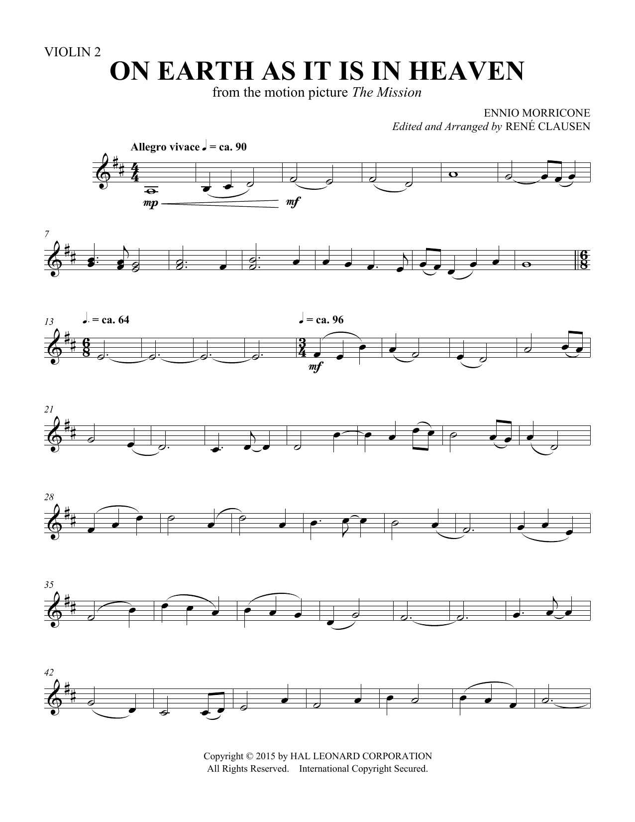 On Earth As It Is In Heaven - Violin 2 Sheet Music