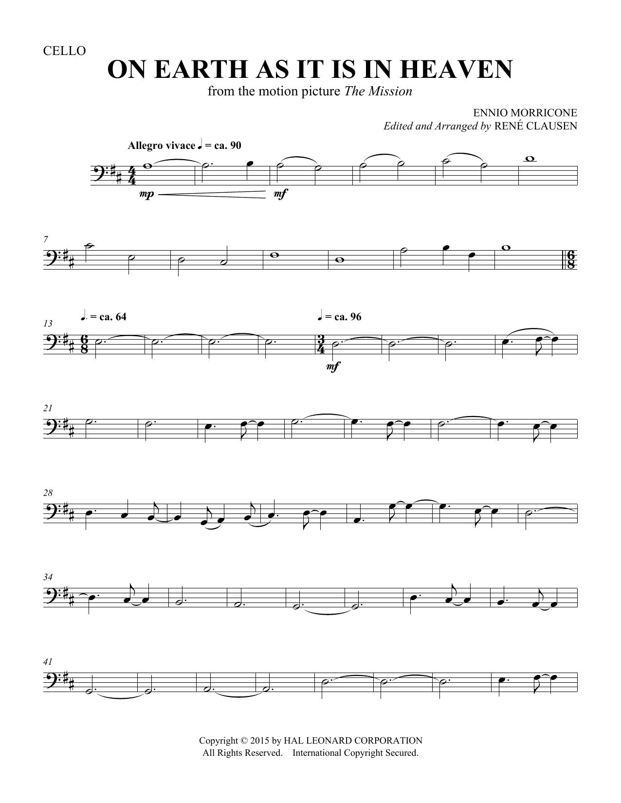 On Earth As It Is In Heaven - Cello (Choir Instrumental Pak)
