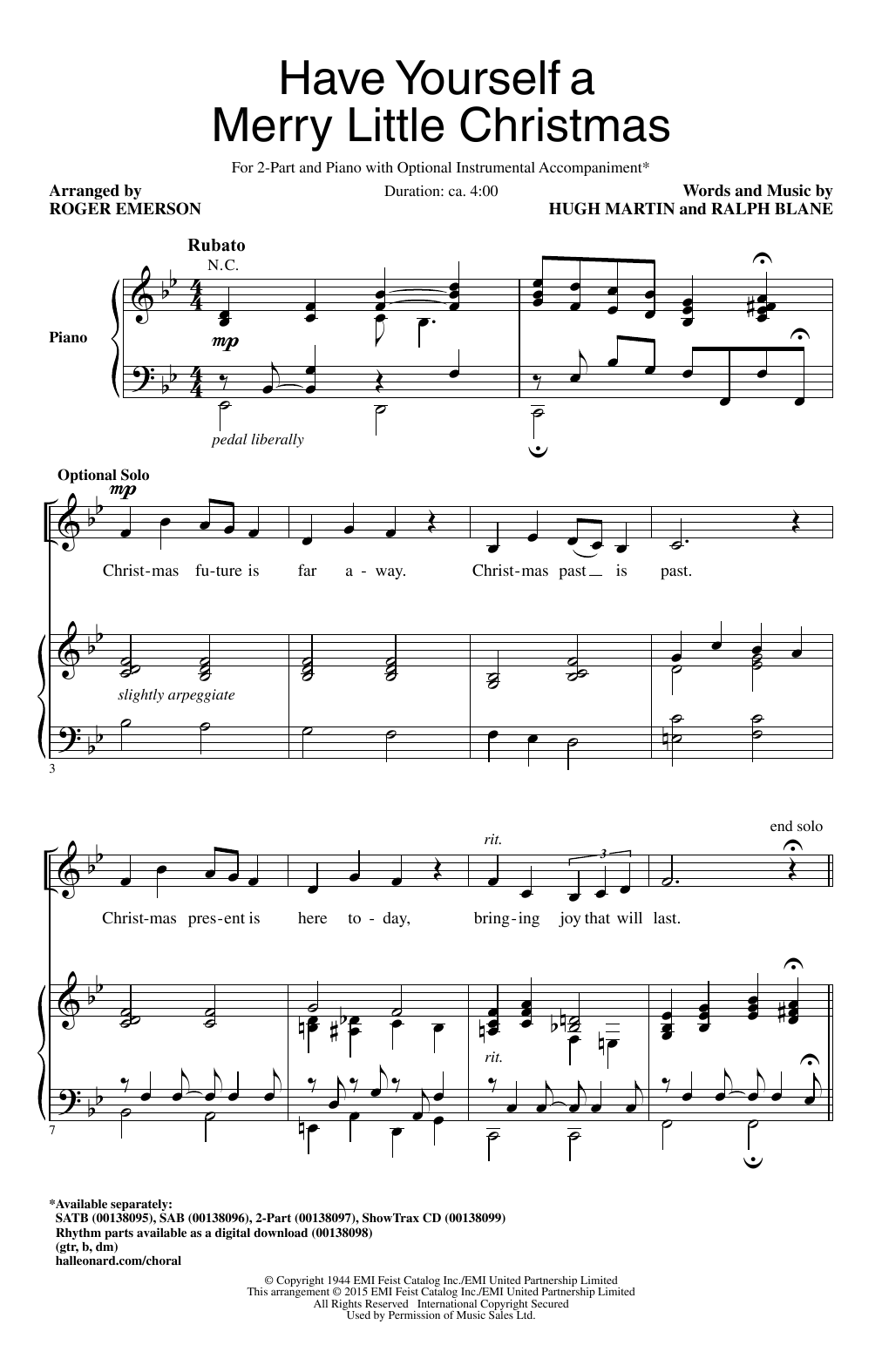 Have Yourself A Merry Little Christmas Lead Sheet.Have Yourself A Merry Little Christmas By Roger Emerson 2 Part Choir Digital Sheet Music