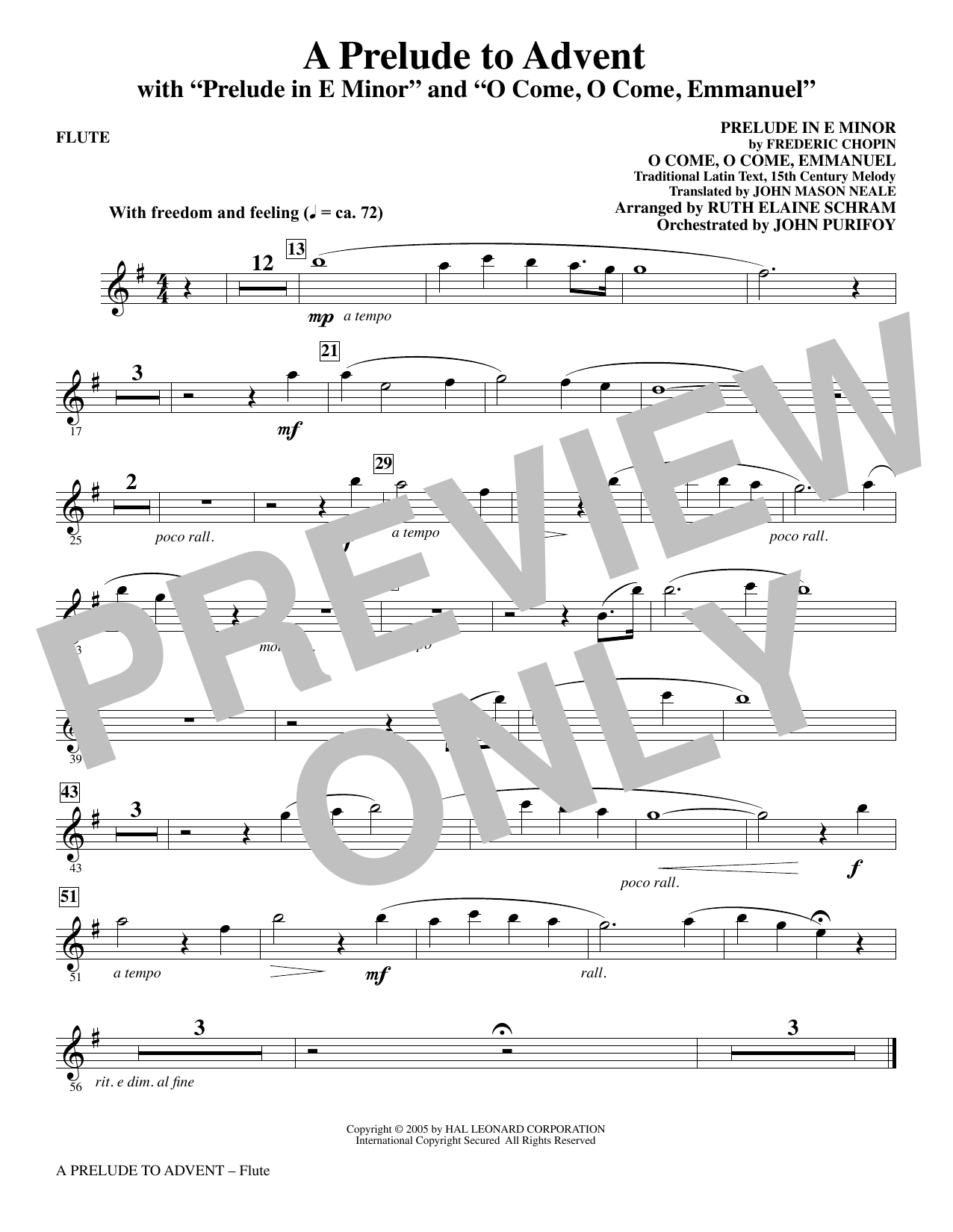 A Prelude To Advent (with Prelude In E Minor and O Come, O Come, Emmanuel) - Flute Sheet Music