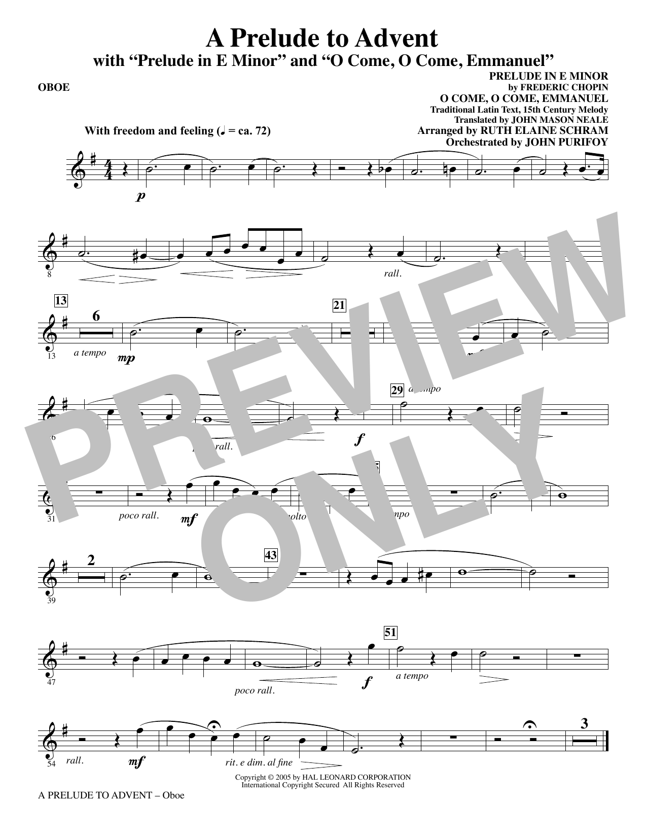 A Prelude To Advent (with Prelude In E Minor and O Come, O Come, Emmanuel) - Oboe (Choir Instrumental Pak)