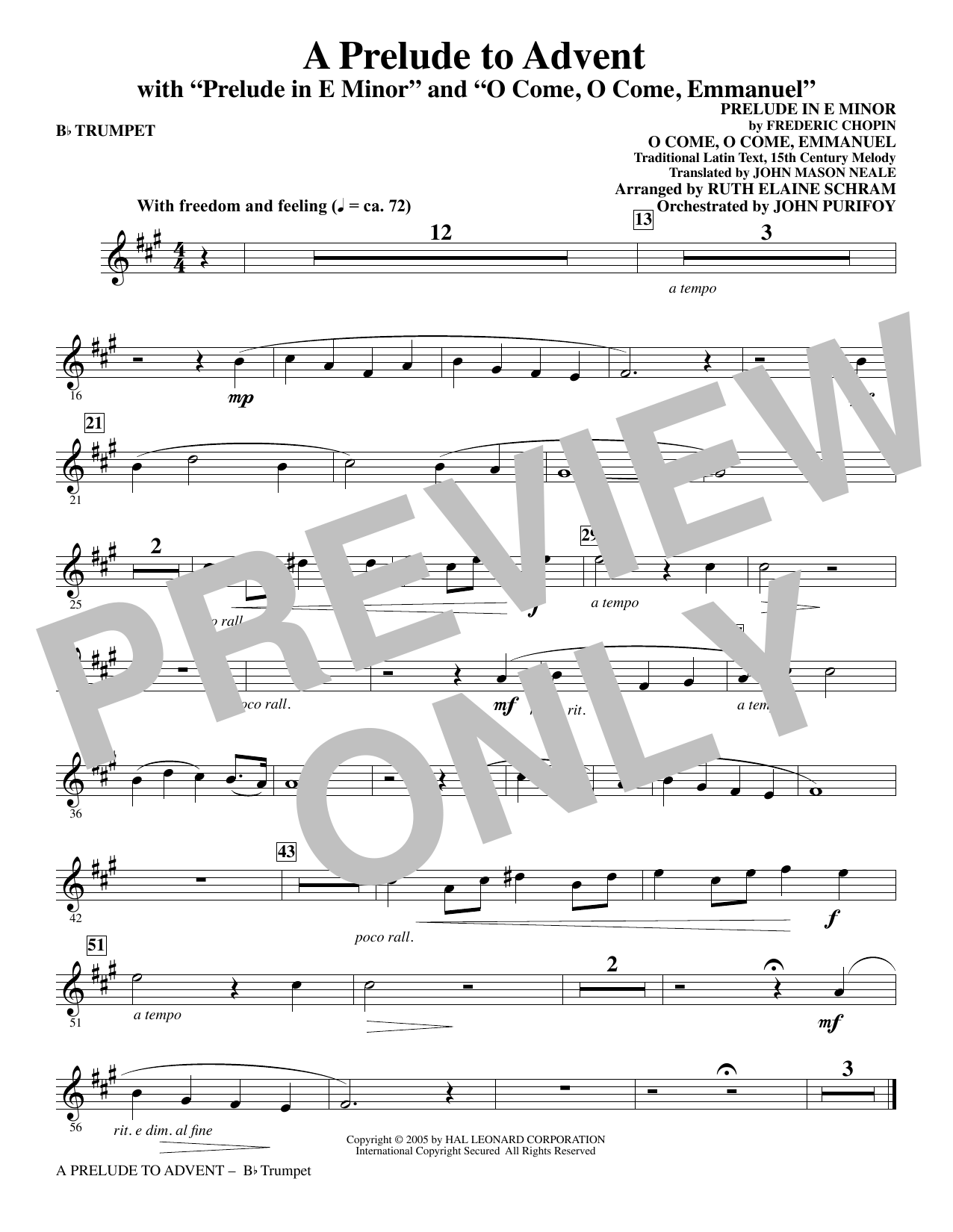 A Prelude To Advent (with Prelude In E Minor and O Come, O Come, Emmanuel) - Bb Trumpet (Choir Instrumental Pak)