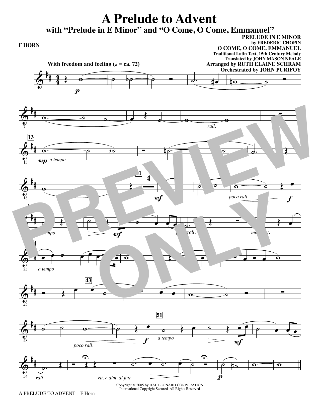 A Prelude To Advent (with Prelude In E Minor and O Come, O Come, Emmanuel) - F Horn Sheet Music