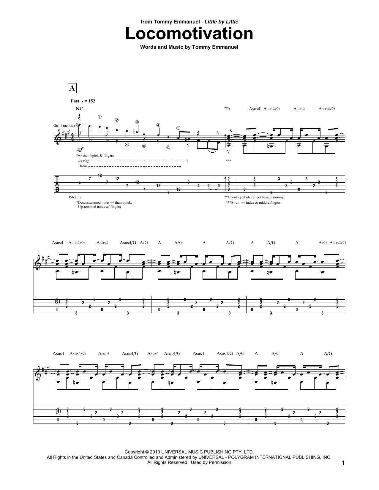 Tablature guitare Locomotivation de Tommy Emmanuel - Tablature Guitare