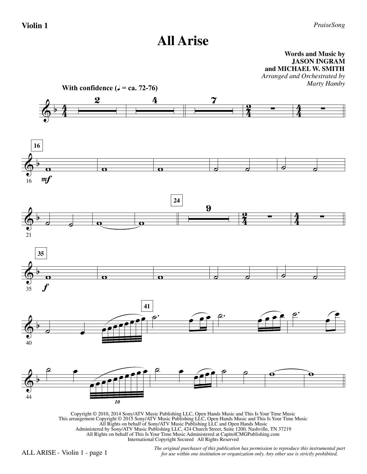 All Arise - Violin 1 (Choir Instrumental Pak)