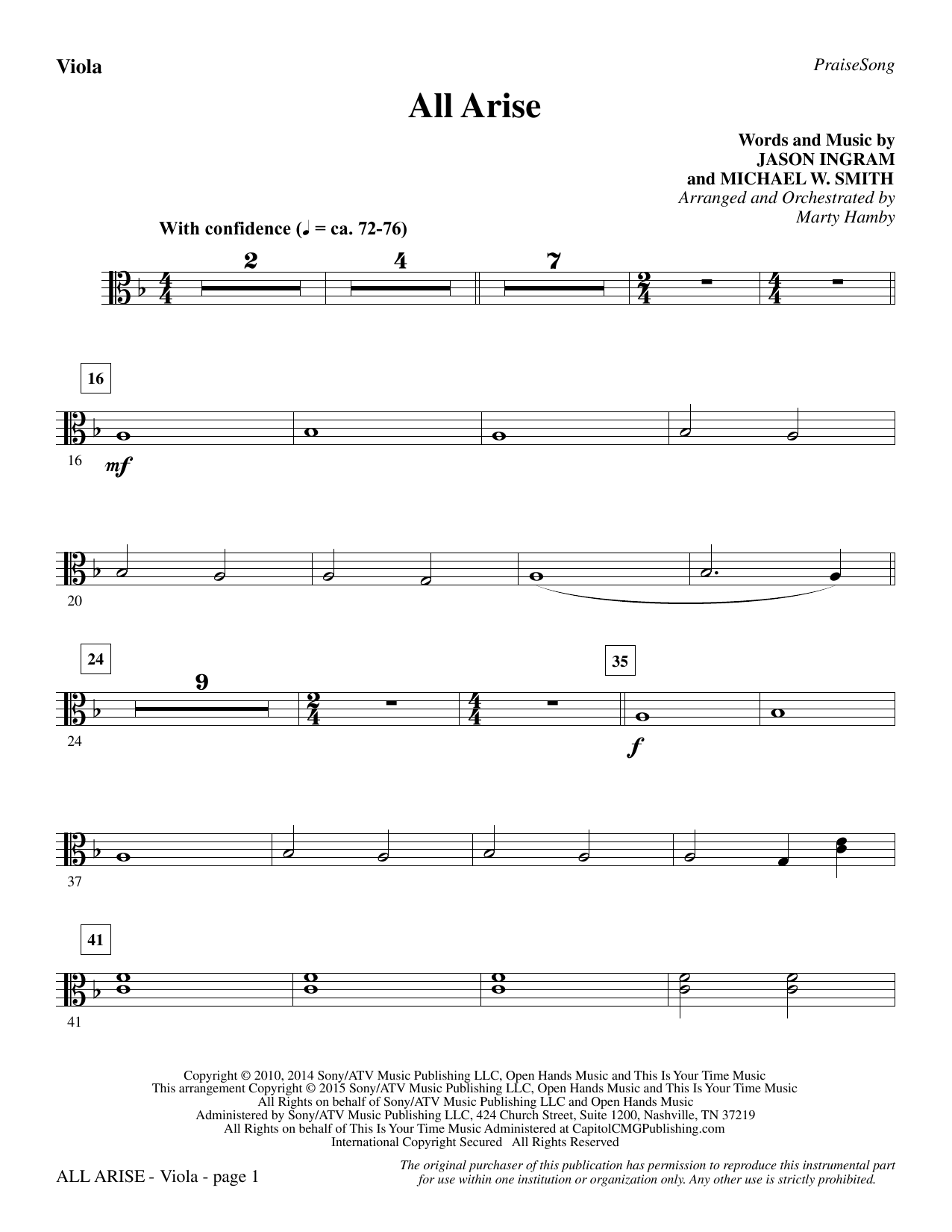 All Arise - Viola Sheet Music
