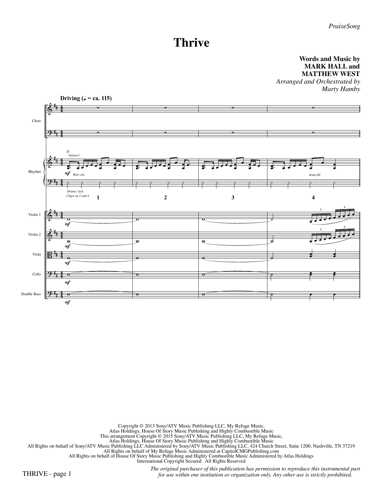 Thrive (COMPLETE) sheet music for orchestra/band by Marty Hamby, Casting Crowns, Mark Hall and Matthew West. Score Image Preview.