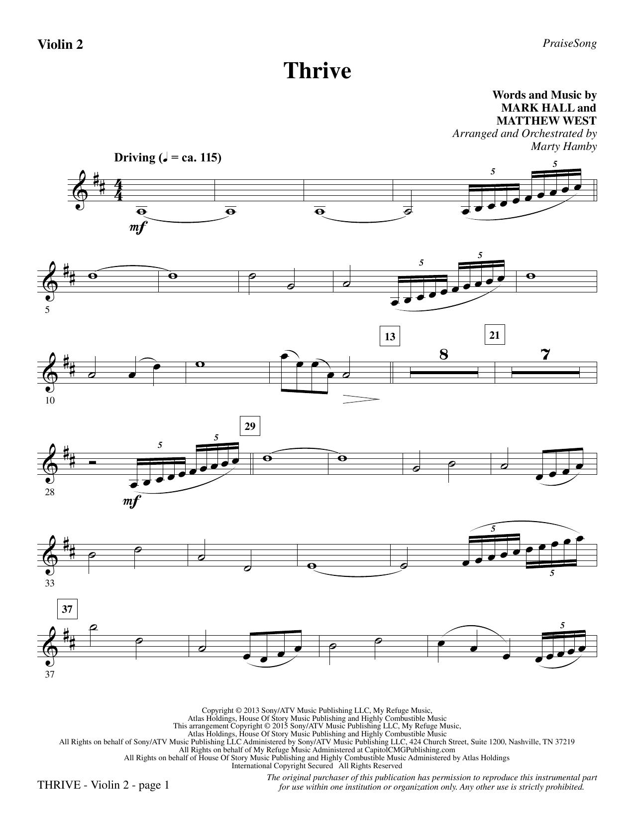 Thrive - Violin 2 (Choir Instrumental Pak)