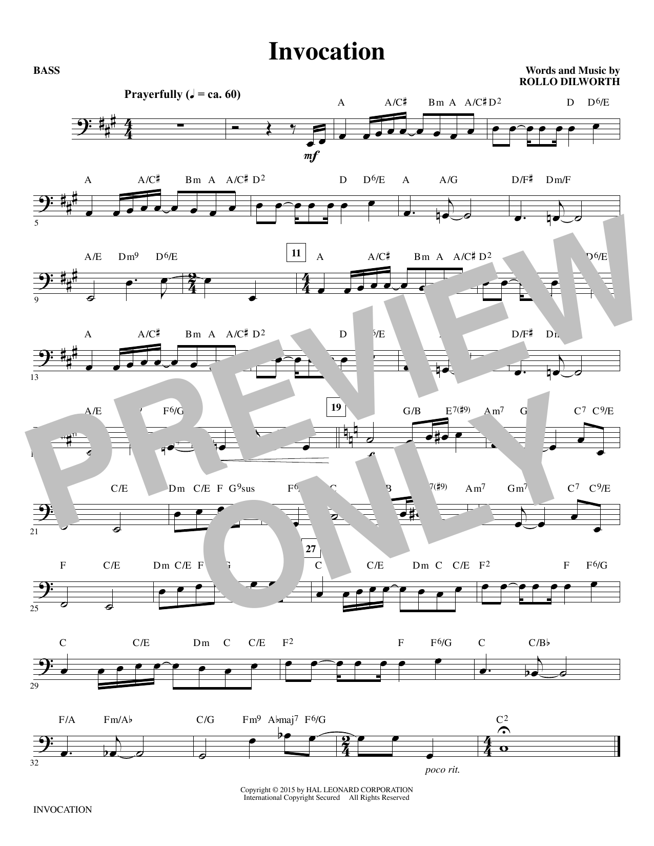 Invocation (complete set of parts) sheet music for orchestra/band by Rollo Dilworth. Score Image Preview.