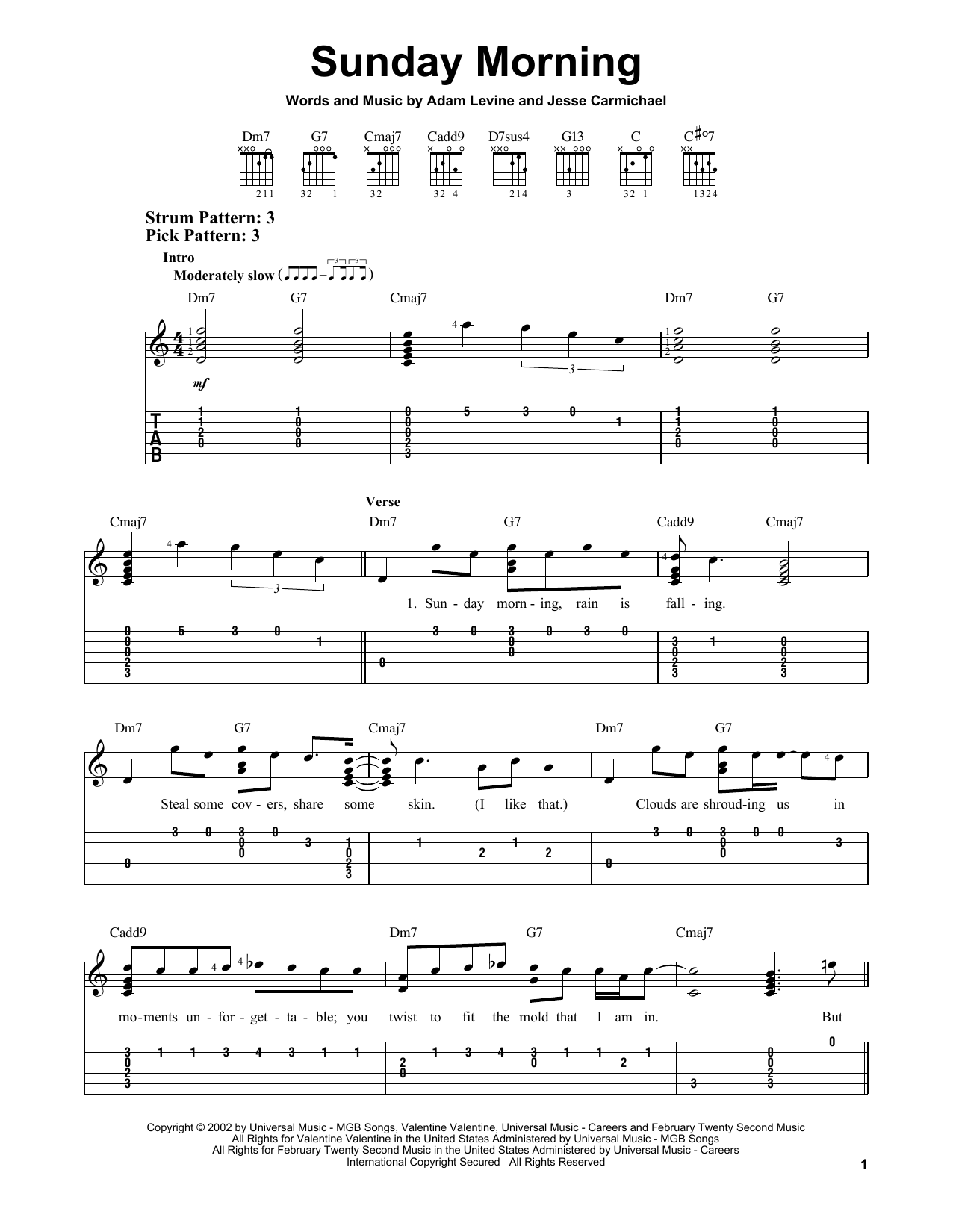 Tablature guitare Sunday Morning de Maroon 5 - Tablature guitare facile