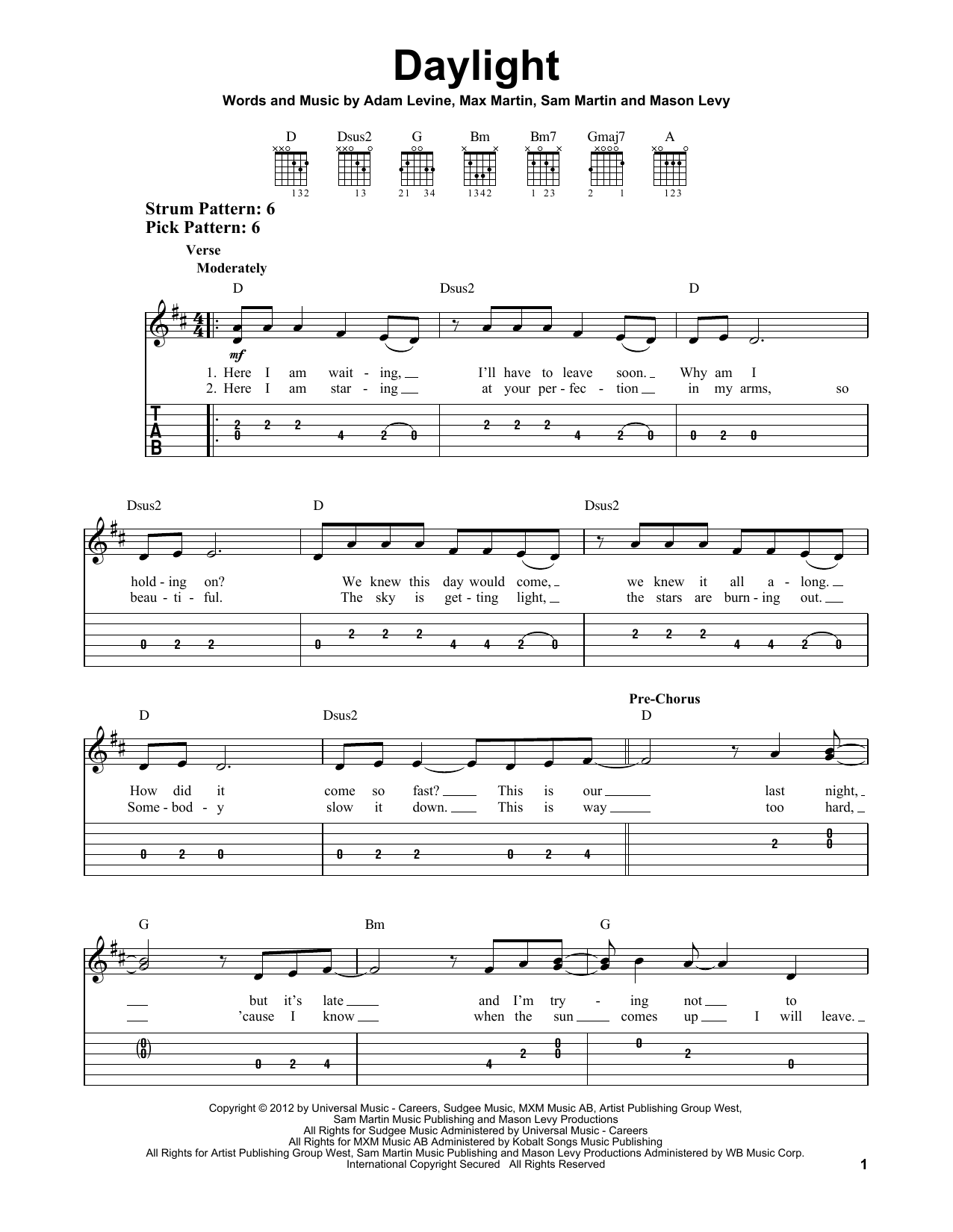Tablature guitare Daylight de Maroon 5 - Tablature guitare facile