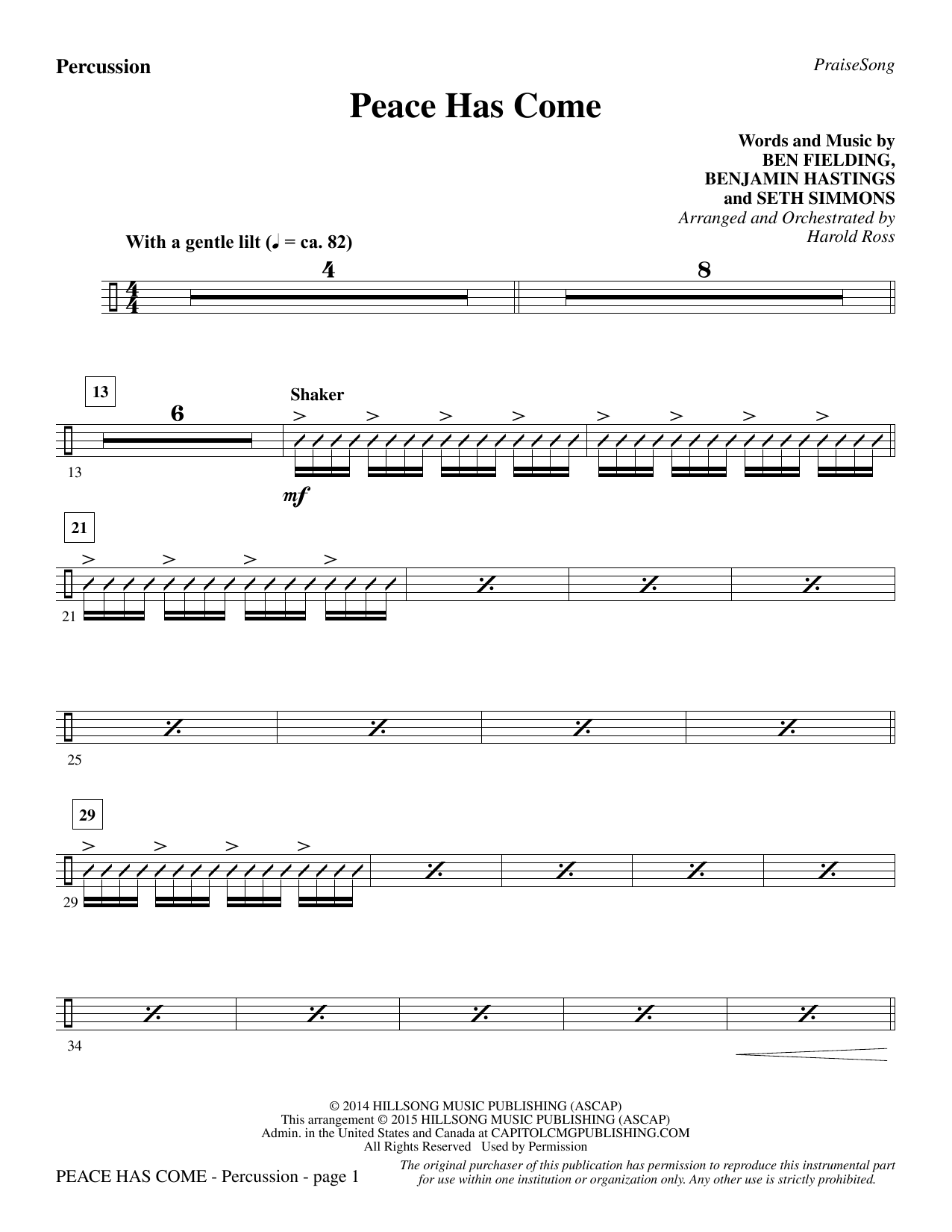 Peace Has Come - Percussion Sheet Music