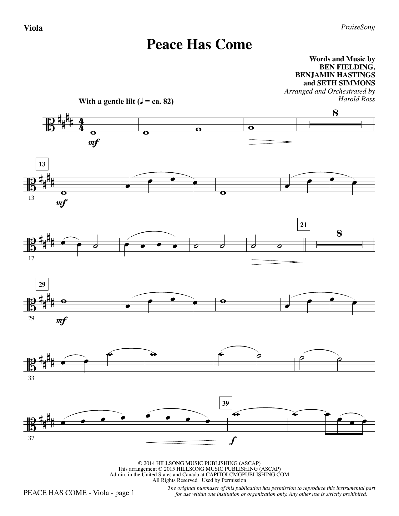 Peace Has Come - Viola Sheet Music