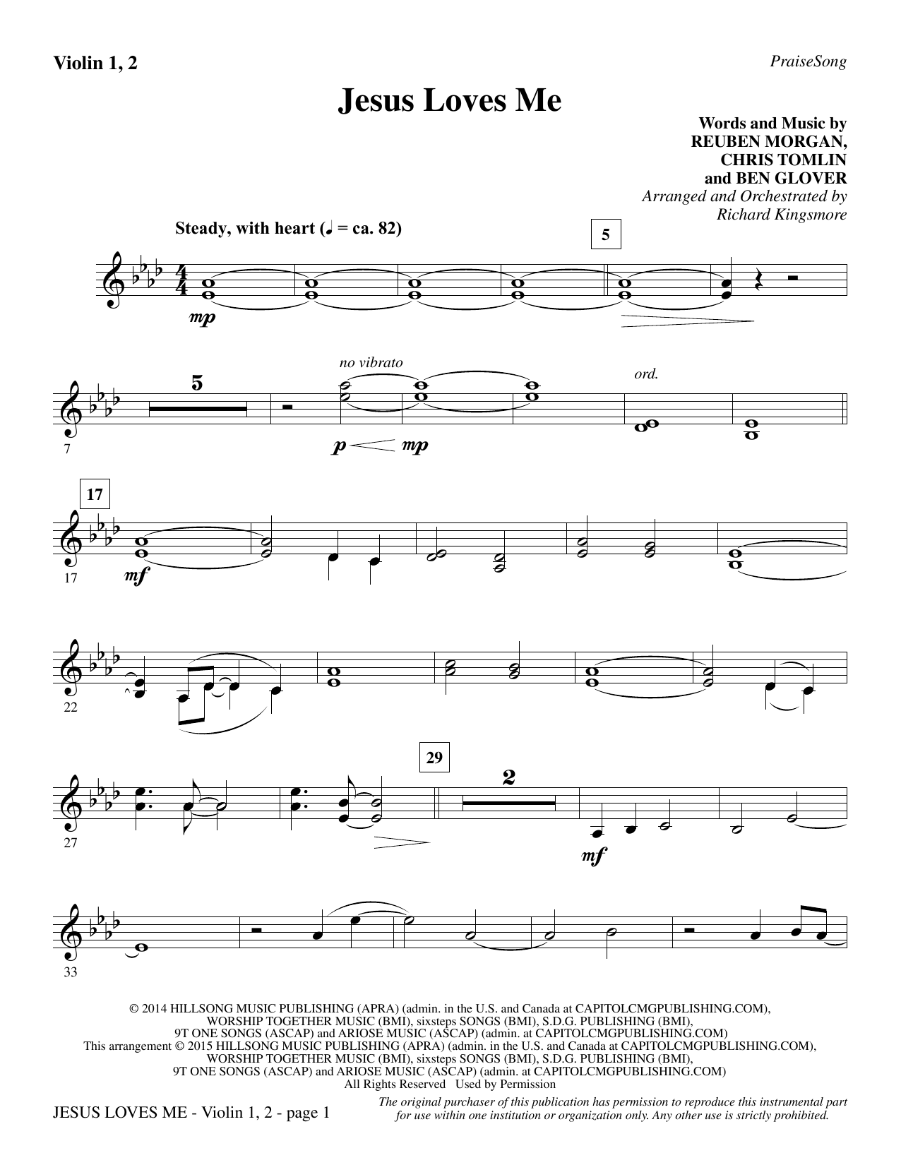 Jesus Loves Me - Violin 1, 2 (Choir Instrumental Pak)