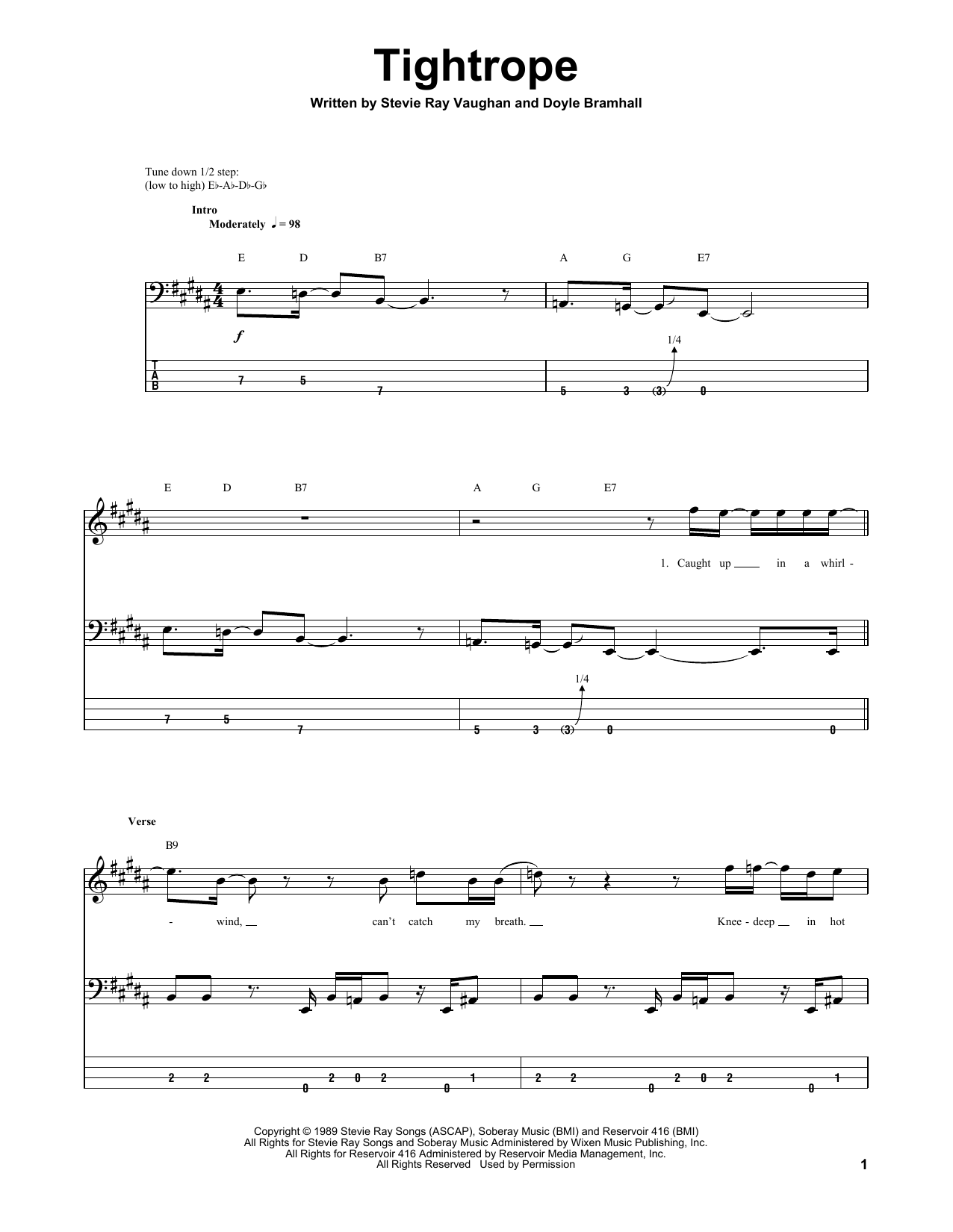 Tablature guitare Tightrope de Stevie Ray Vaughan - Tablature Basse