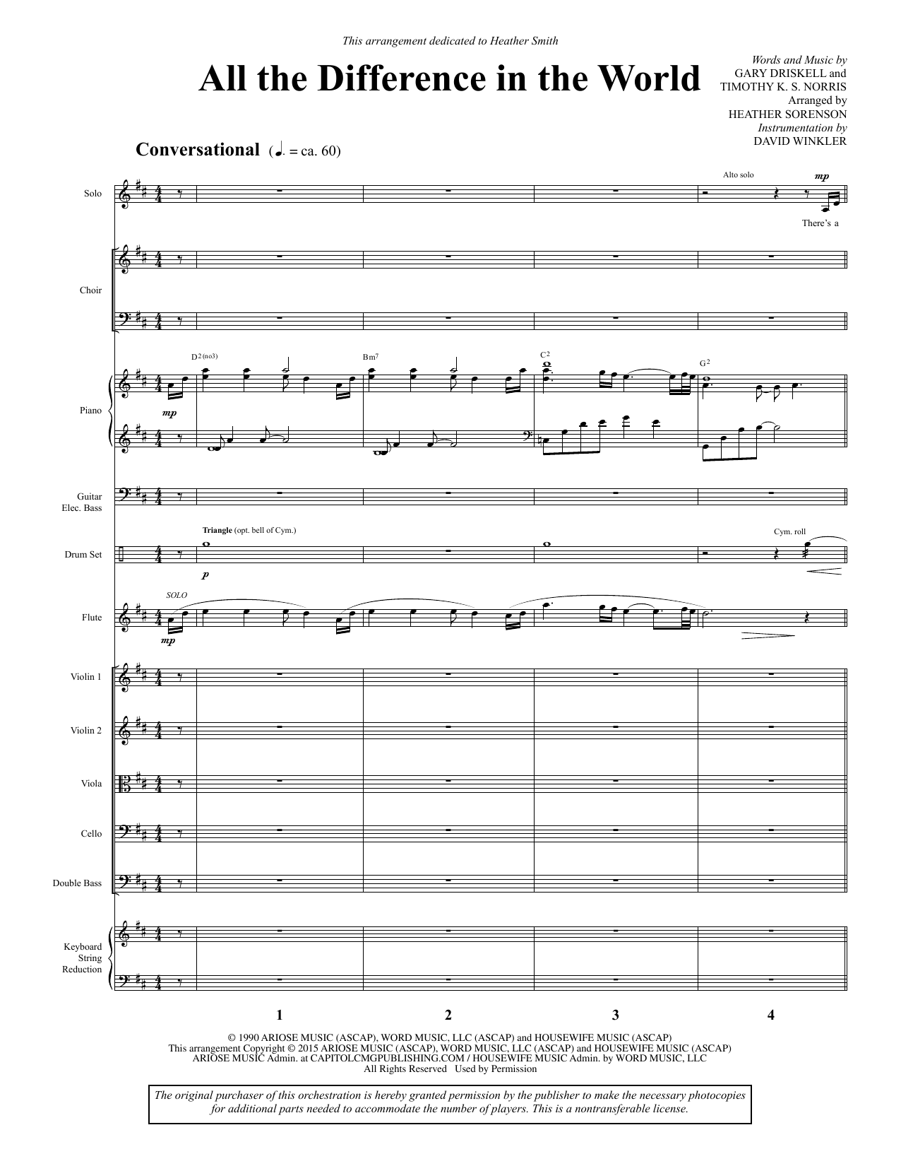 All the Difference in the World - Full Score Sheet Music