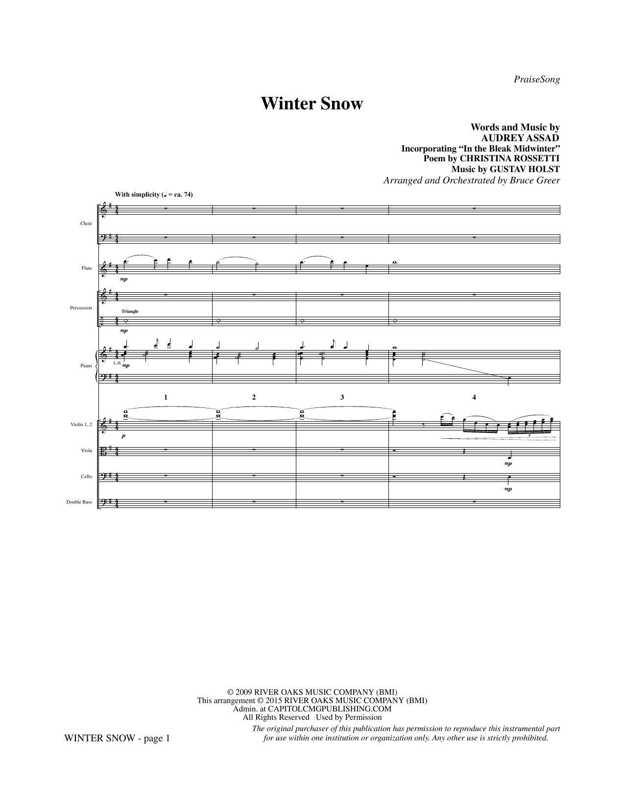 Winter Snow (COMPLETE) sheet music for orchestra/band by Bruce Greer, Audrey Assad and Chris Tomlin. Score Image Preview.