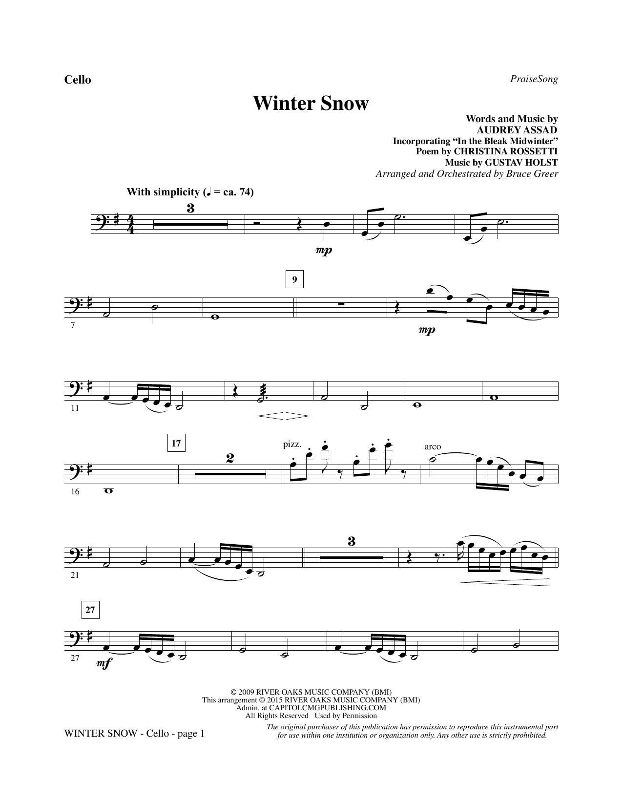 Winter Snow - Cello (Choir Instrumental Pak)