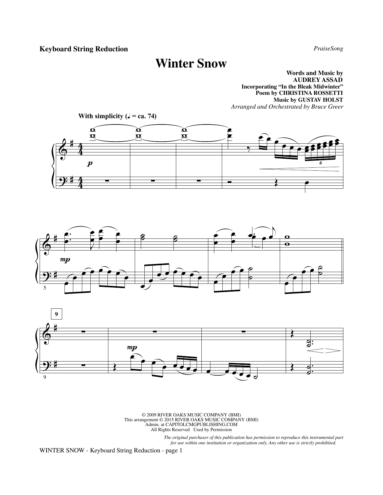 Winter Snow - Keyboard String Reduction Sheet Music