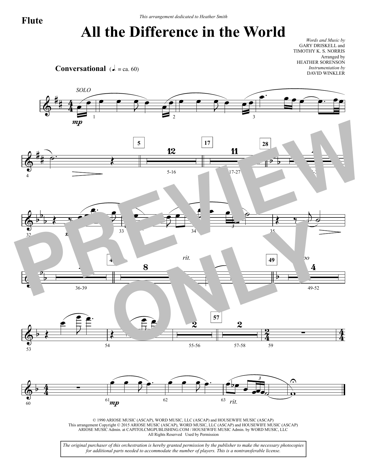 All the Difference in the World - Flute (Choir Instrumental Pak)