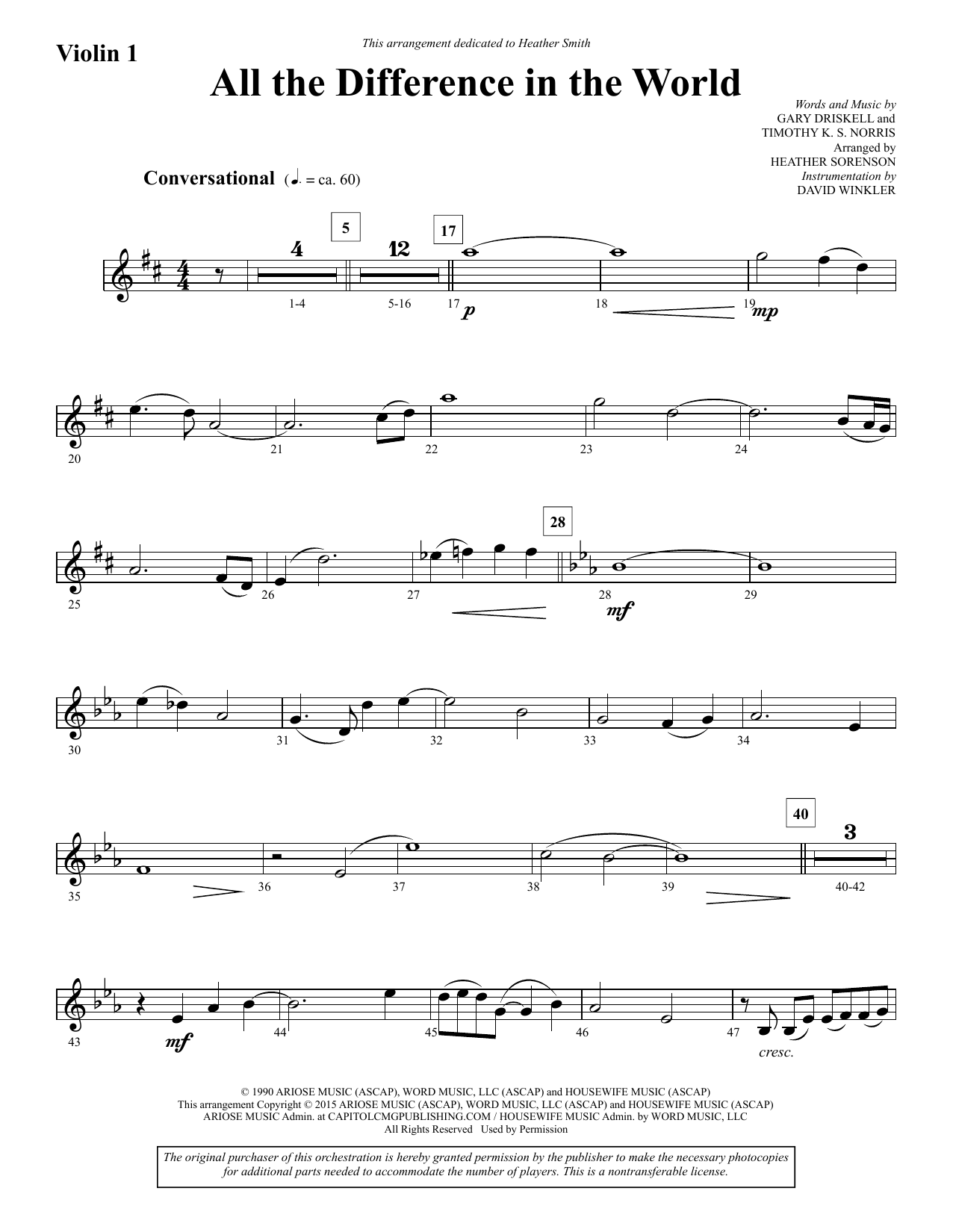 All the Difference in the World - Violin 1 Sheet Music