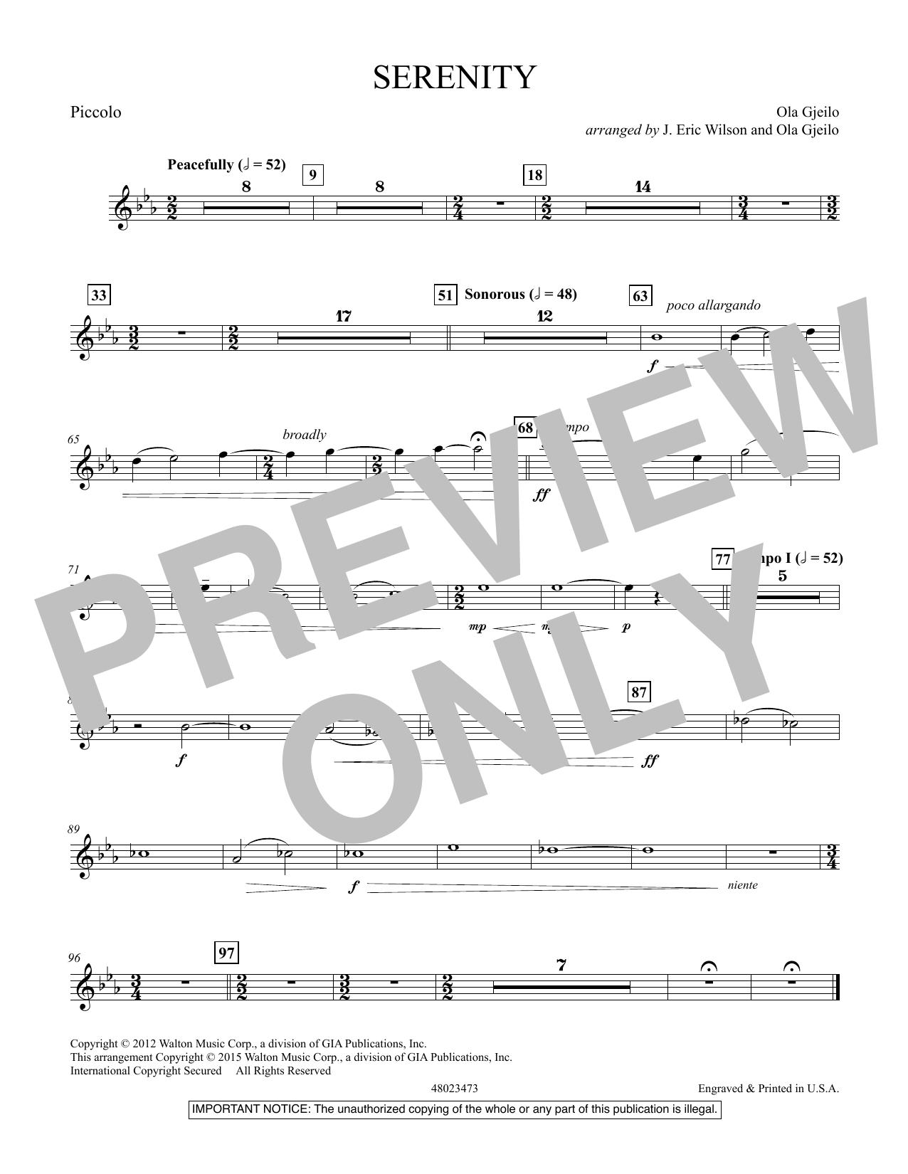 Serenity - Piccolo (Concert Band)