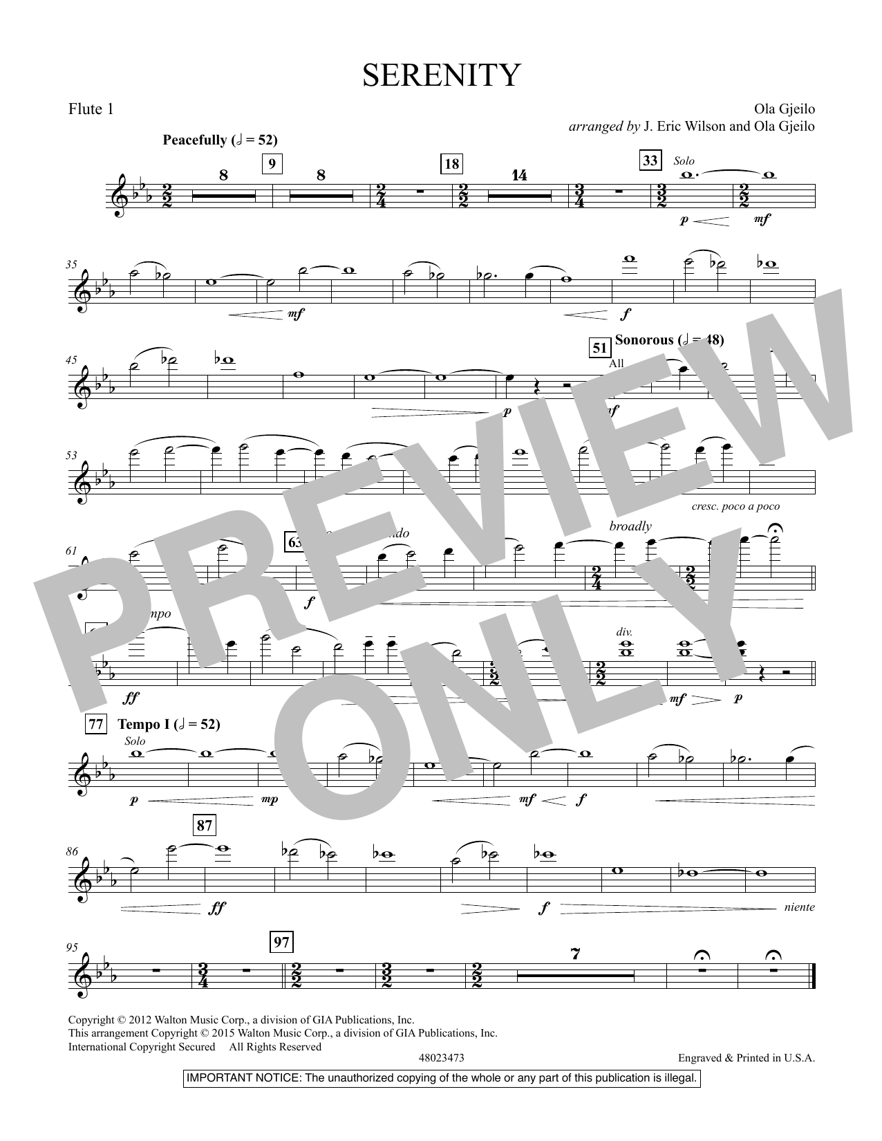 Serenity - Flute 1 (Concert Band)
