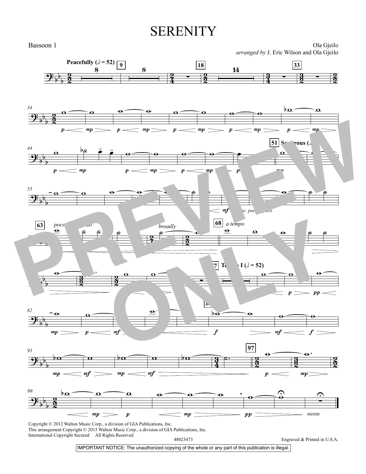 Serenity - Bassoon 1 (Concert Band)