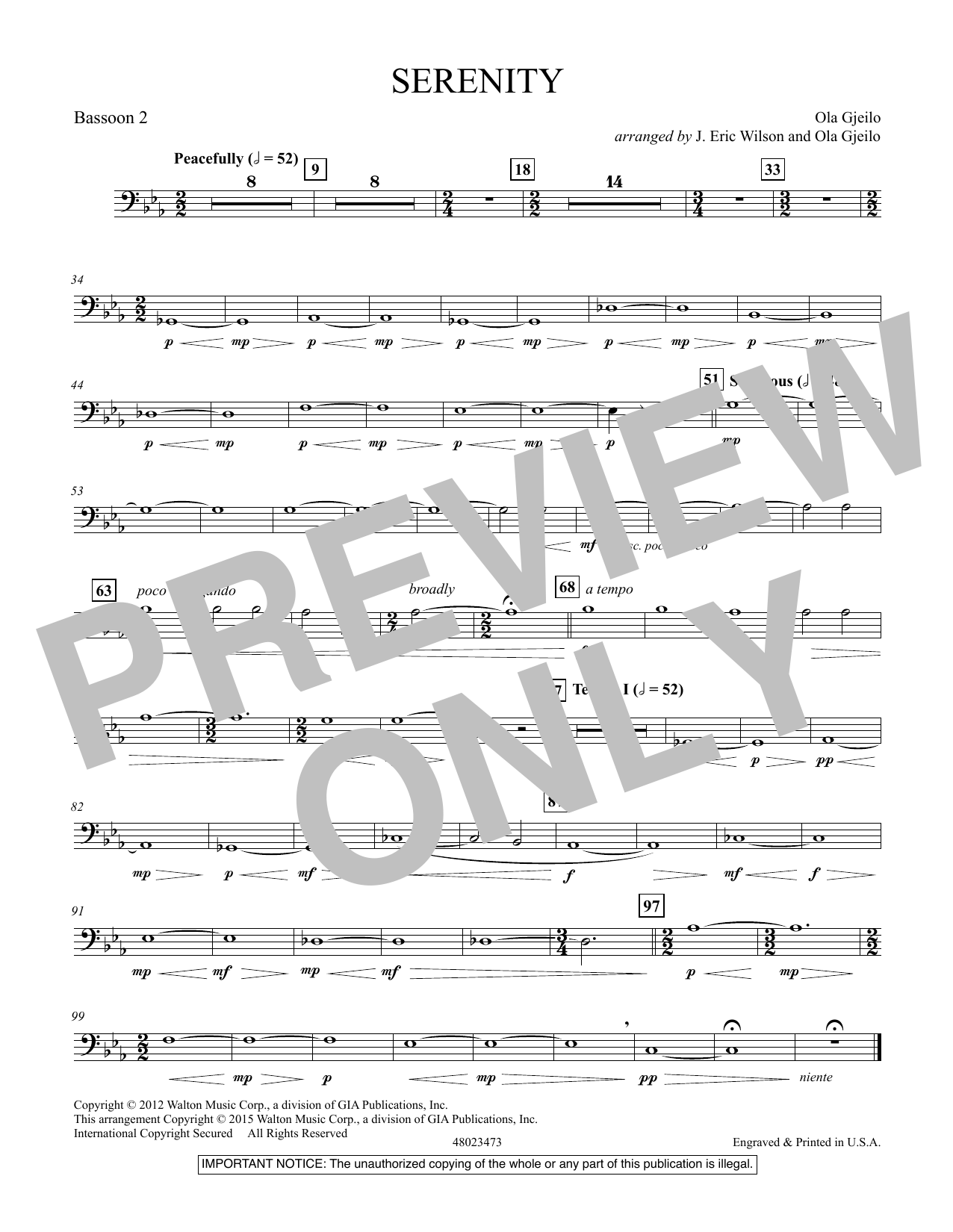 Serenity - Bassoon 2 (Concert Band)