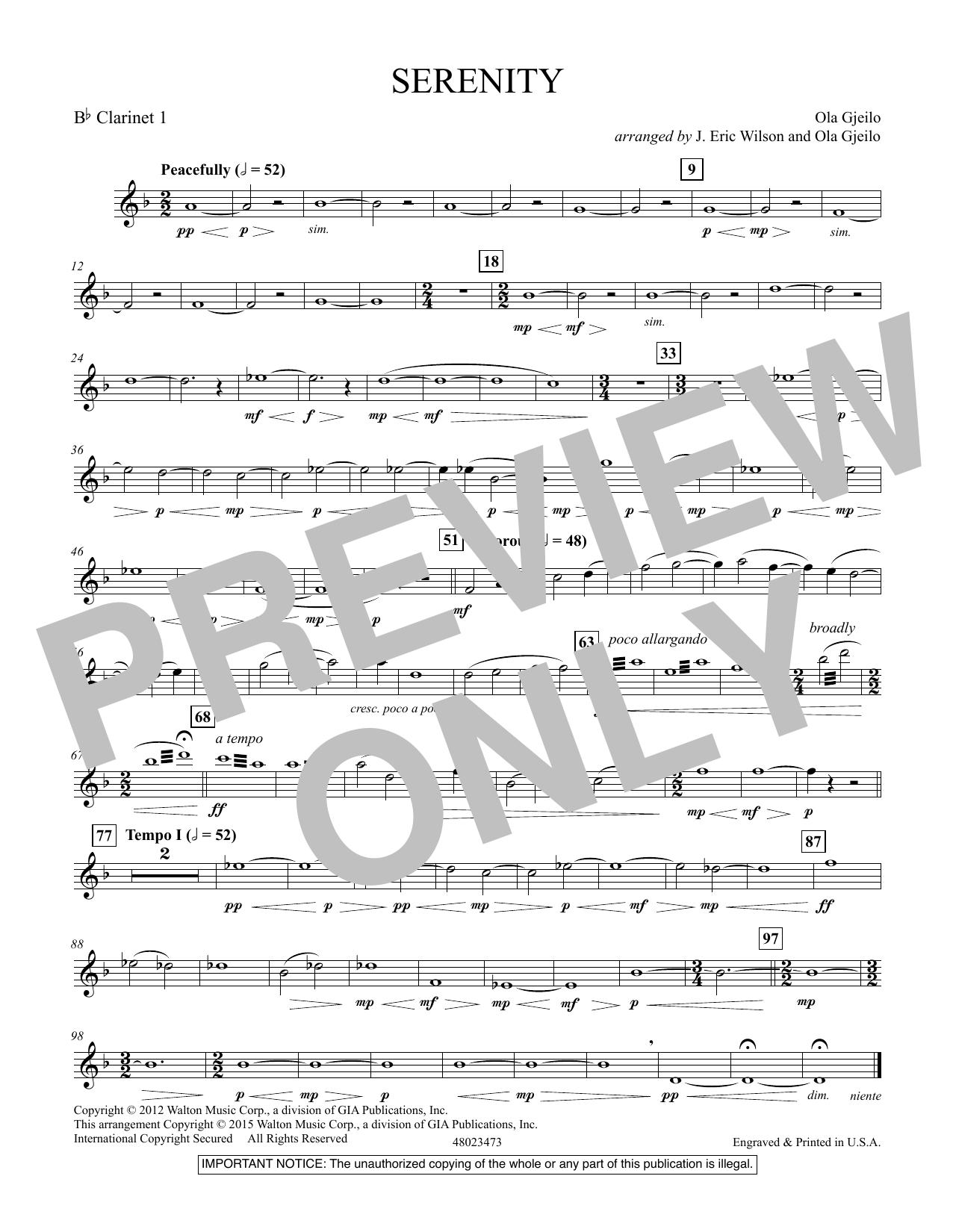 Serenity - Bb Clarinet 1 (Concert Band)